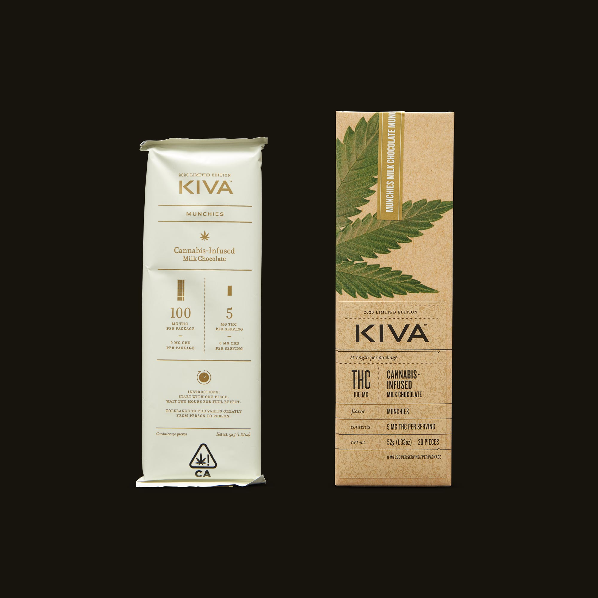 Kiva Confections Milk Chocolate Fruity Flakes Munchies Bar Packaging with Inner Packaging