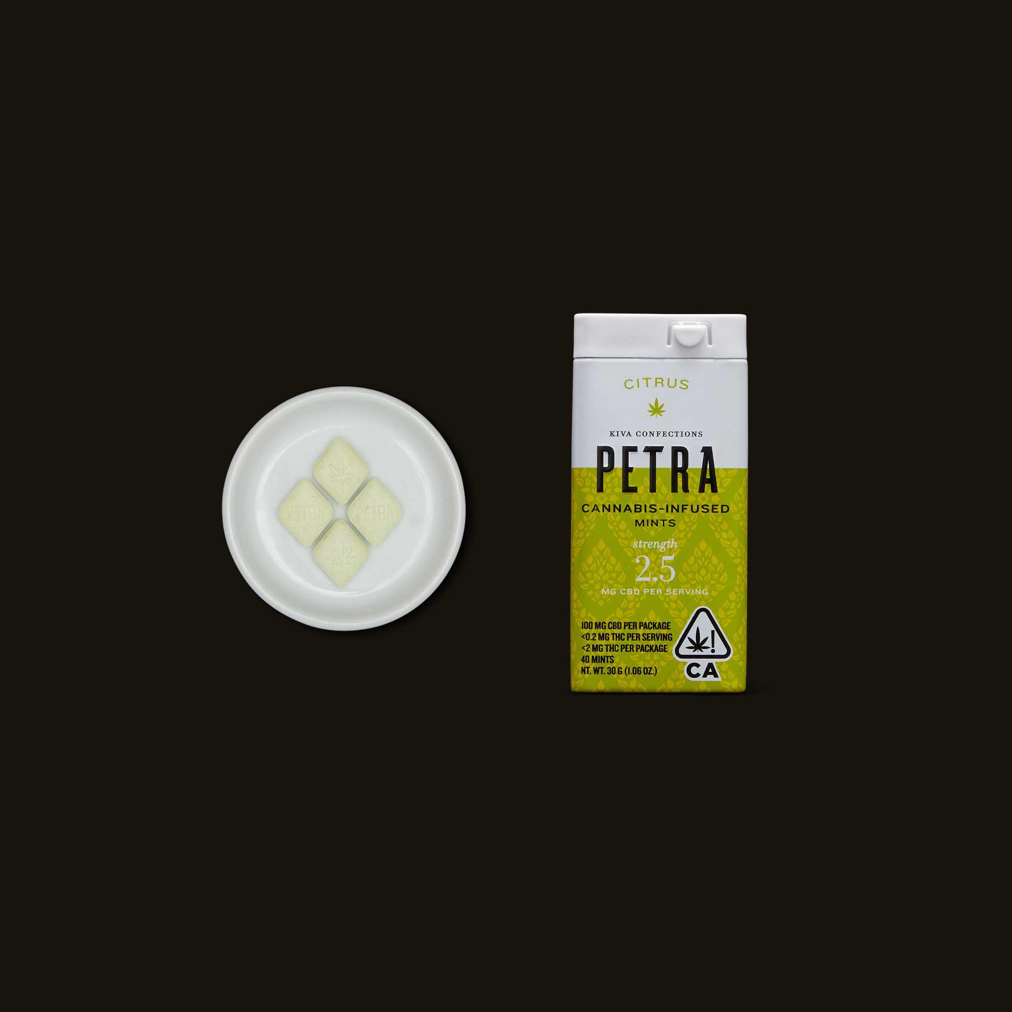 Kiva Confections Petra Citrus CBD Mints