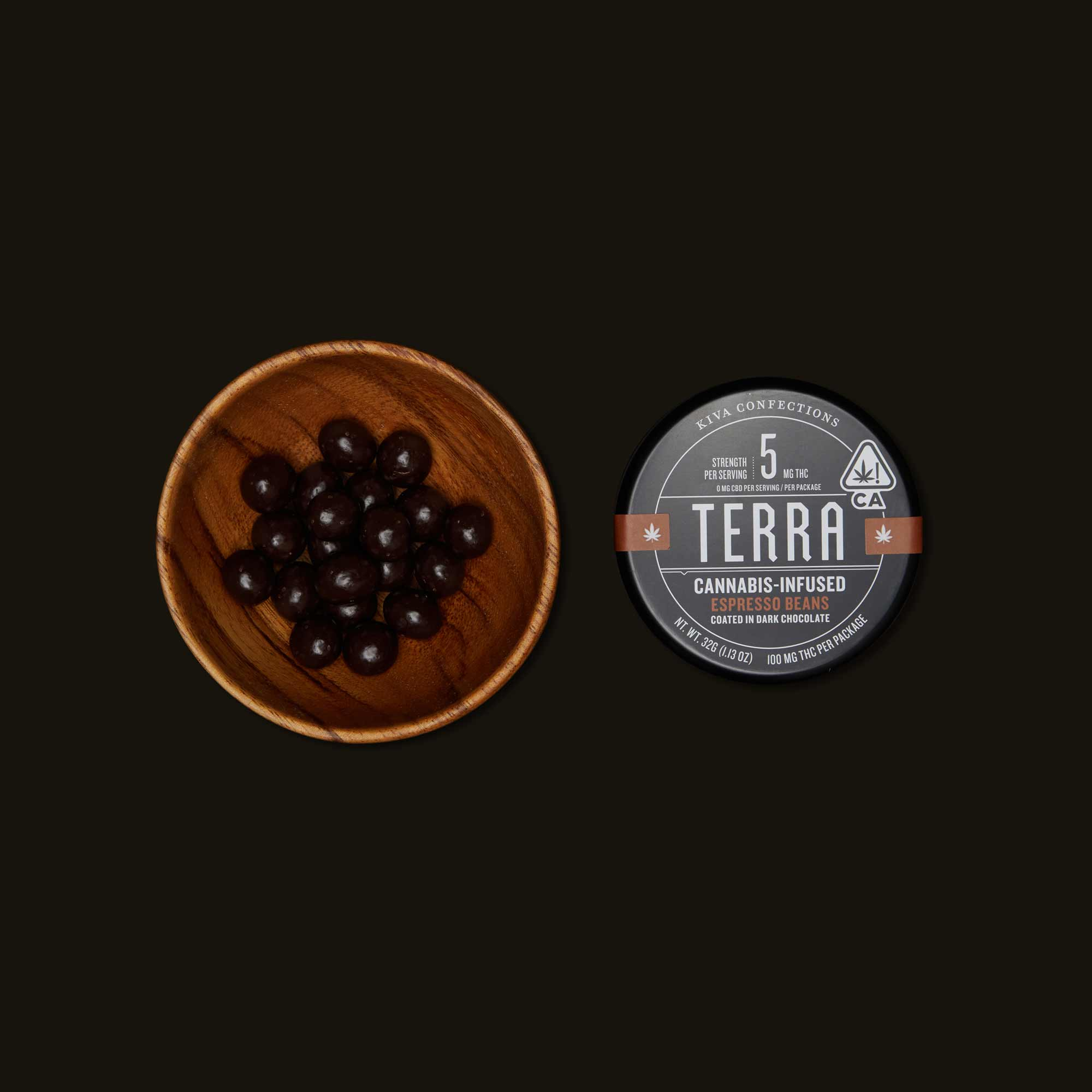 Kiva Confections Terra Dark Chocolate Espresso Beans