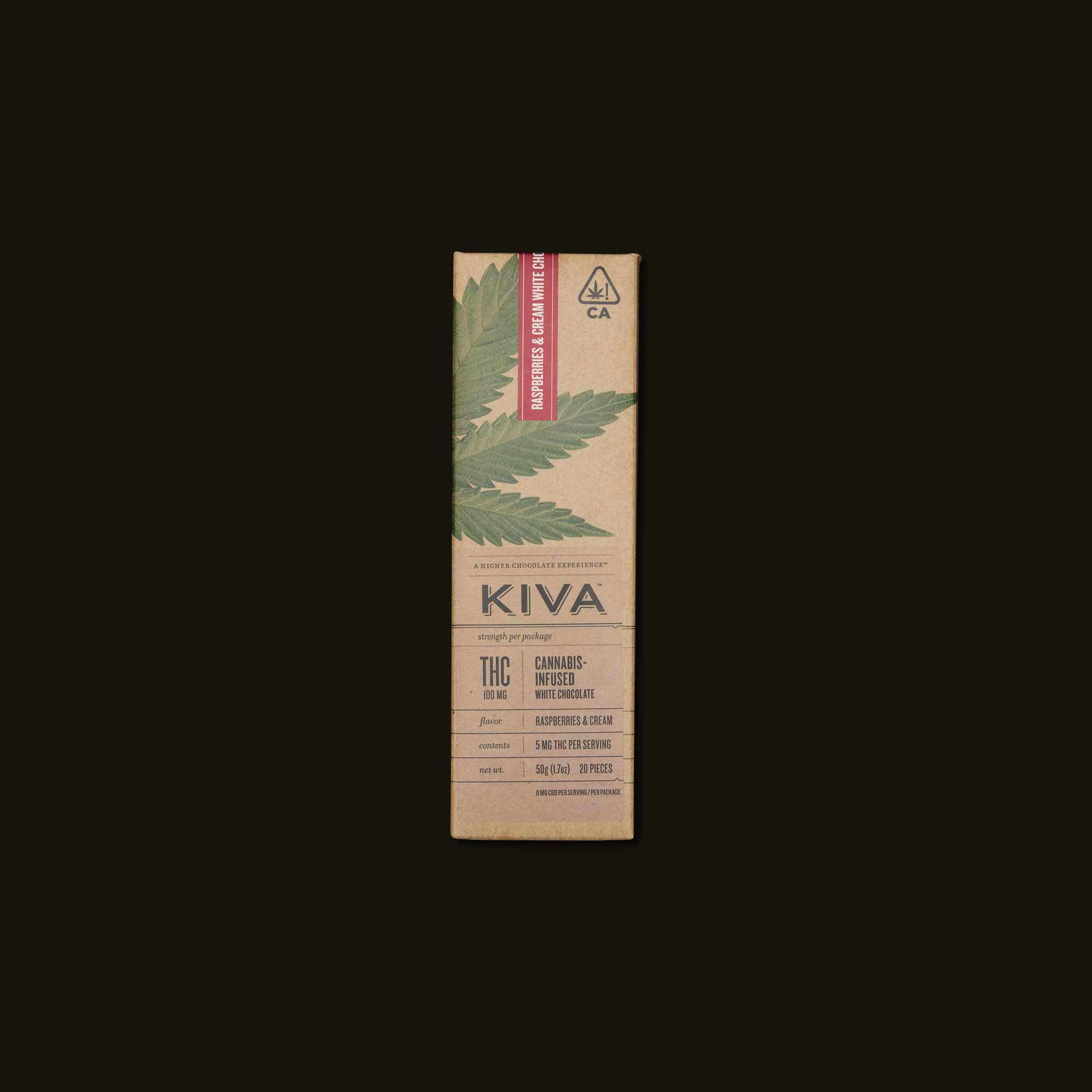 Kiva Confections Raspberries & Cream White Chocolate Kiva Bar