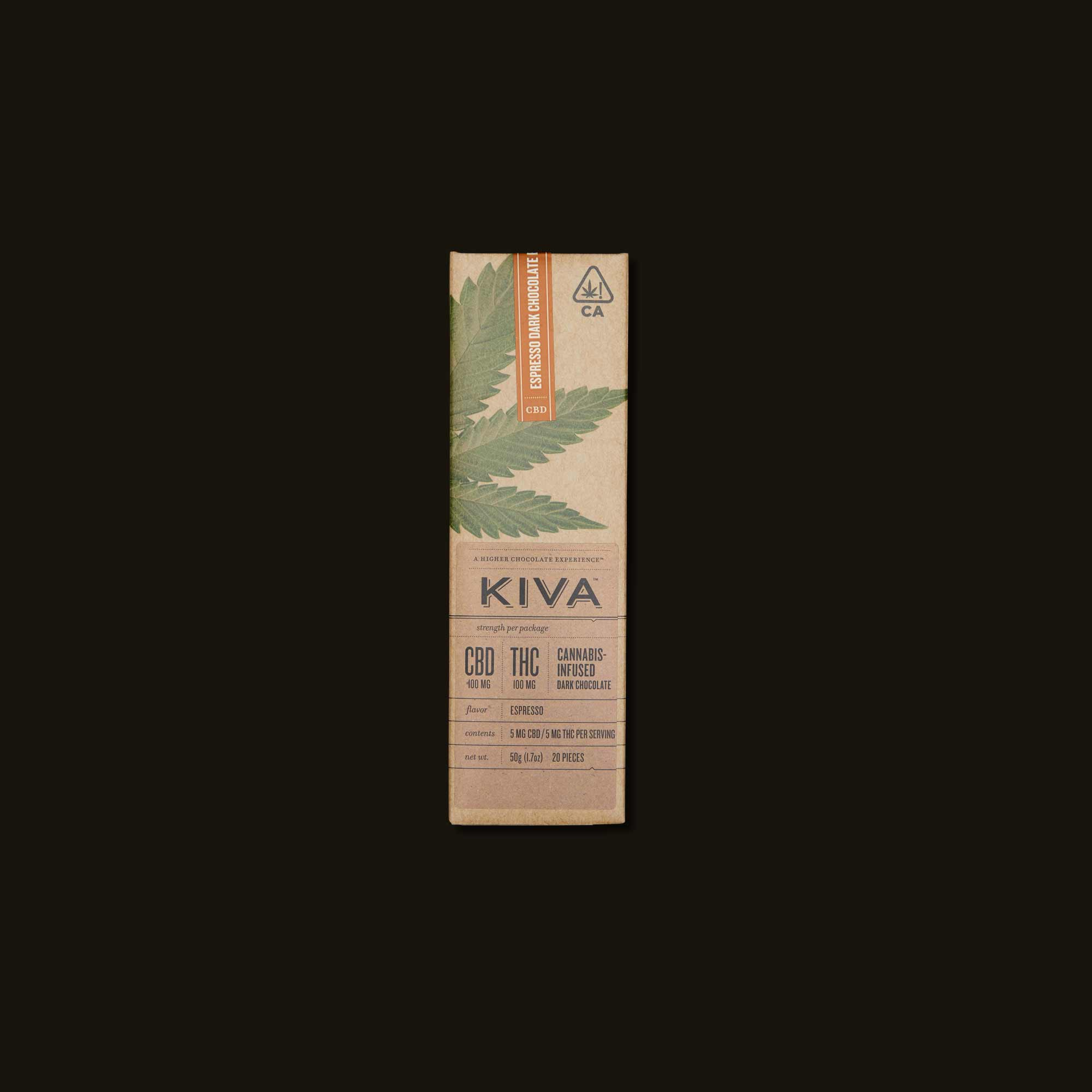 Kiva Confections Espresso Dark Chocolate Kiva Bar
