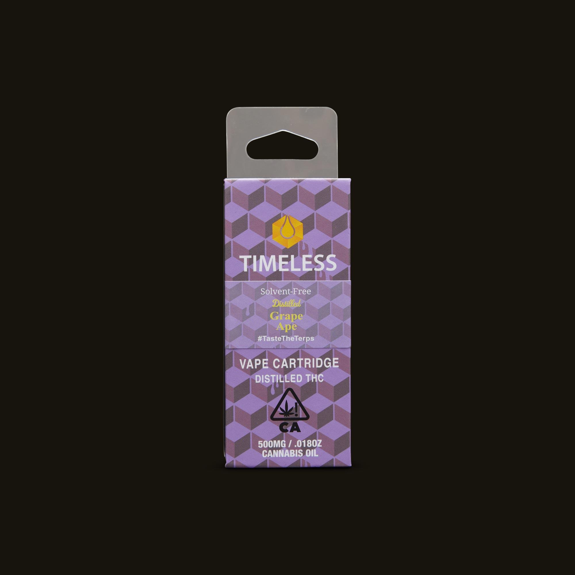 Timeless Vapes Grape Ape Cartridge Front Packaging