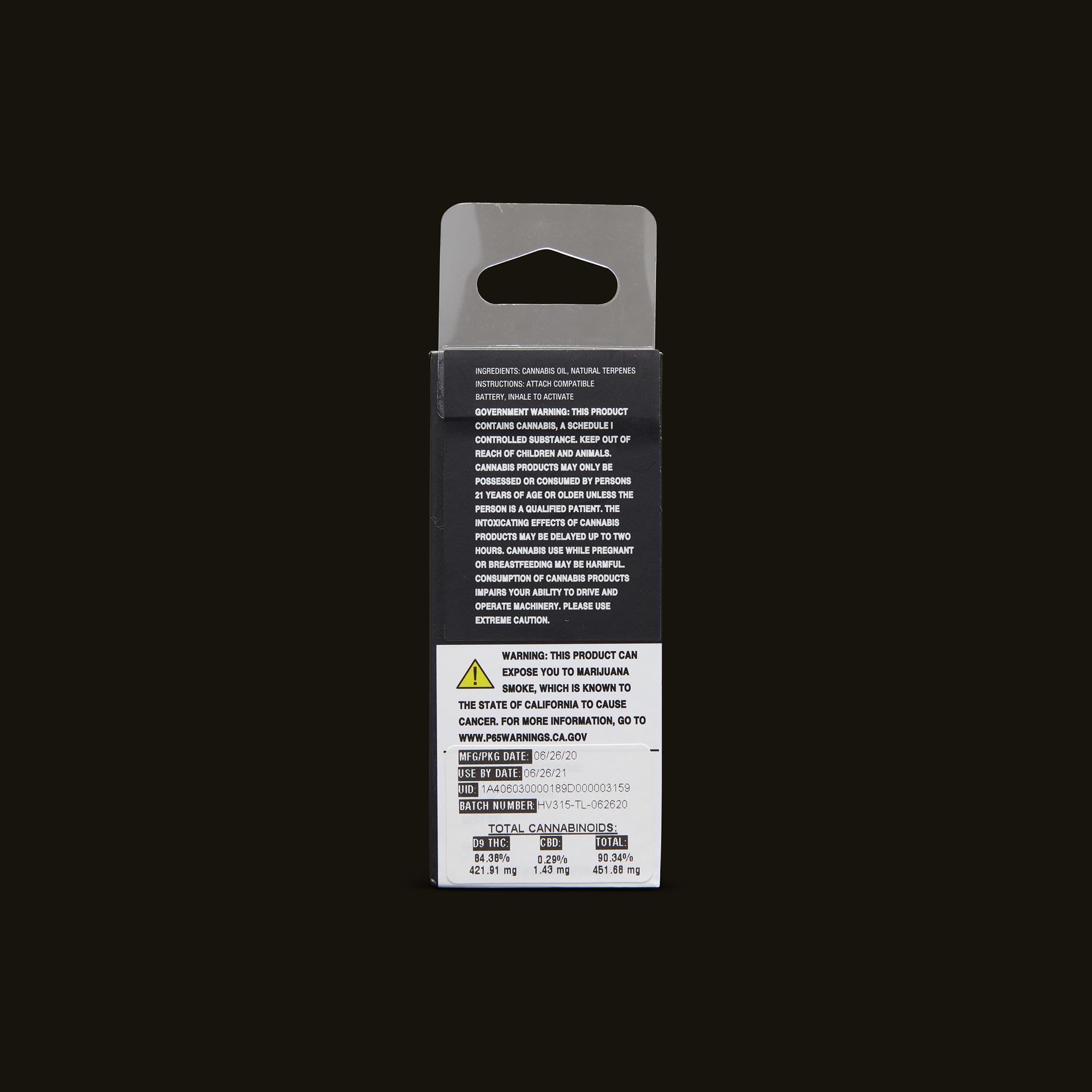 Timeless Vapes Grape Ape Cartridge Back Packaging