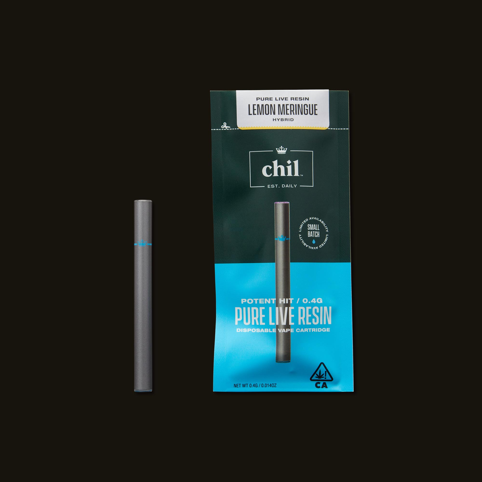 Chil Lemon Meringue Pure Live Resin Disposable Vape Pen with Packaging