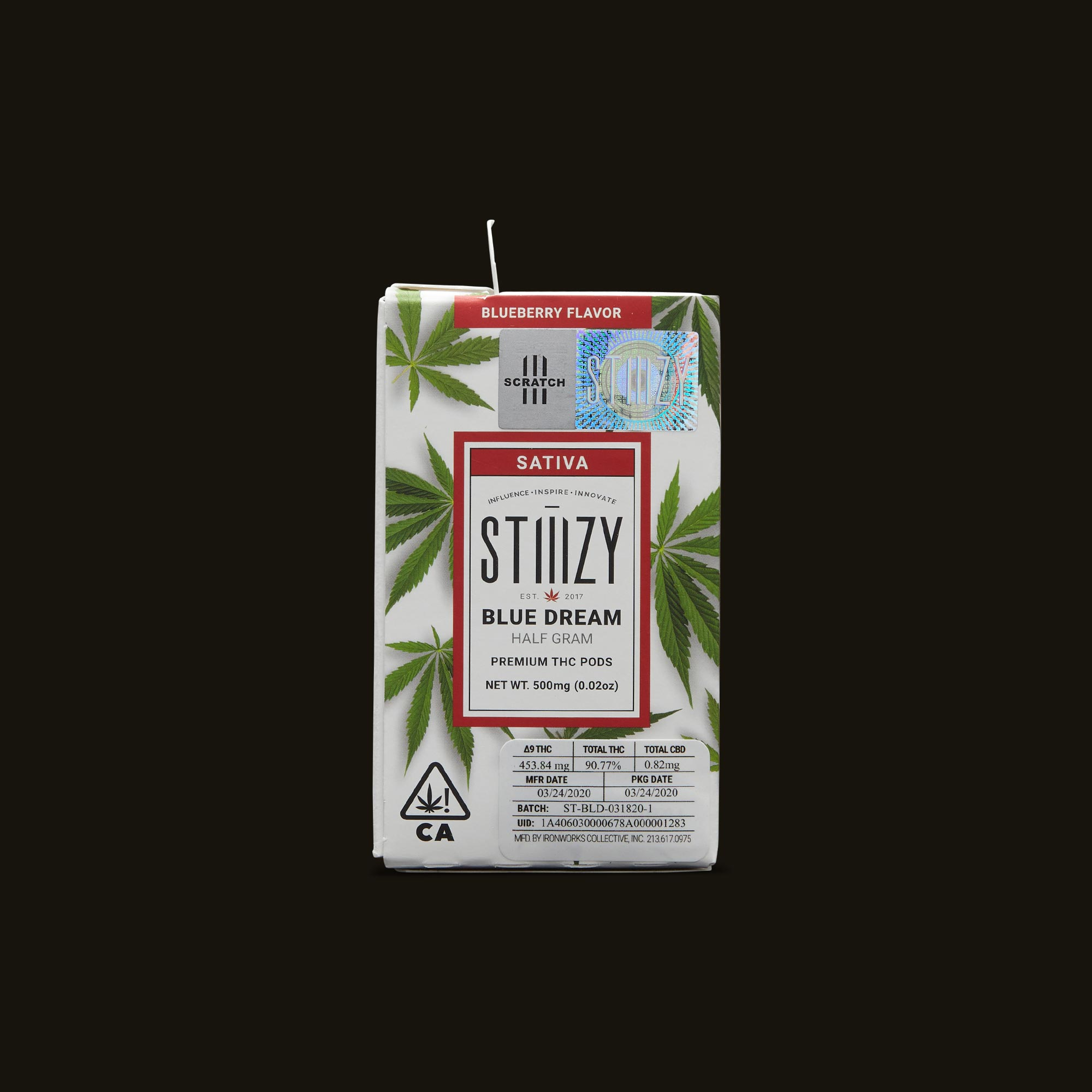 Package of Stiiizy Blue Dream Premium THC POD