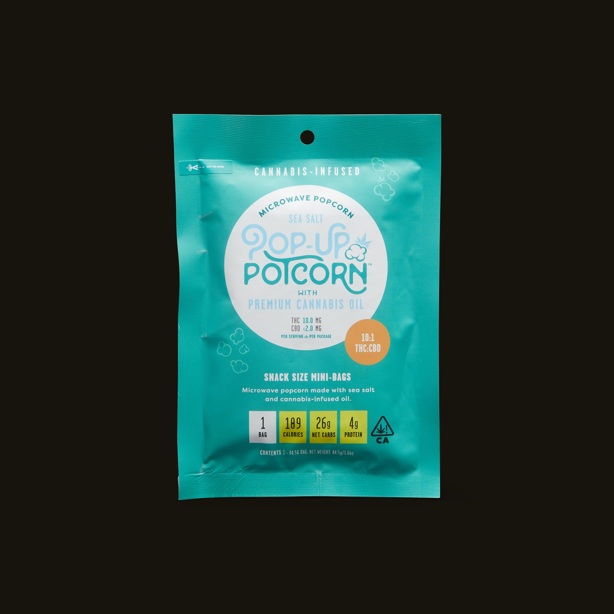 Pop-Up Potcorn Sea Salt Microwave Popcorn 10:1 - Single Front Packaging