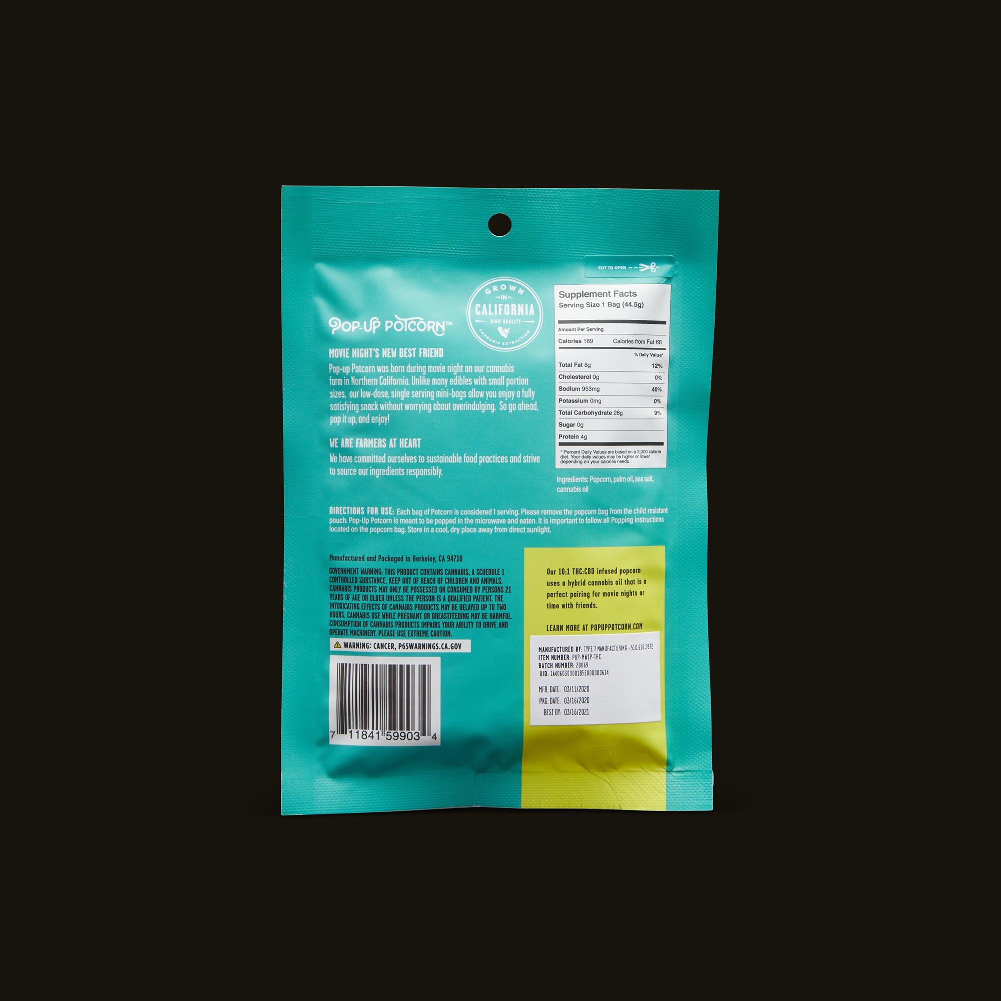 Pop-Up Potcorn Sea Salt Microwave Popcorn 10:1 - Single Nutrition