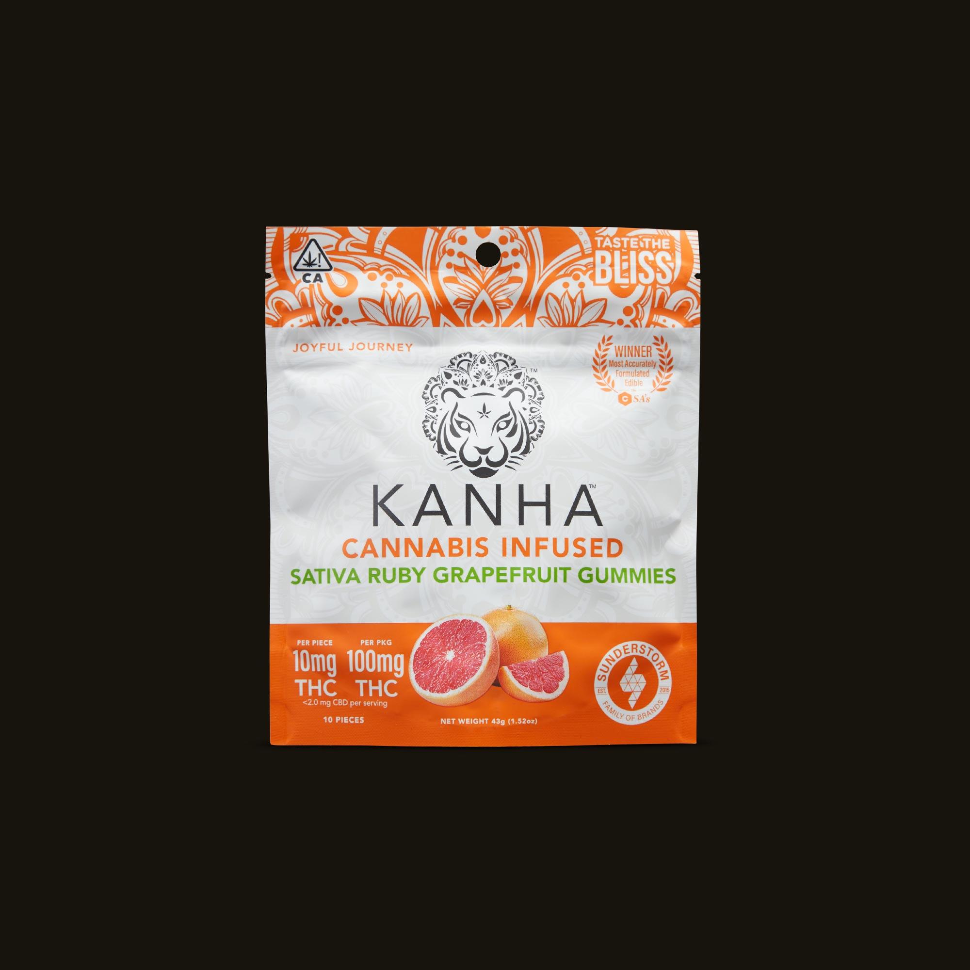 Kanha Ruby Grapefruit Gummies Front Packaging