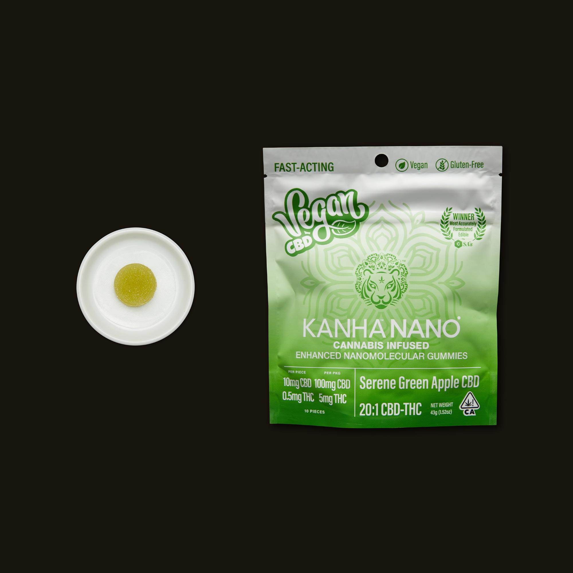 Kanha 20:1 Serene Green Apple Nano Gummies