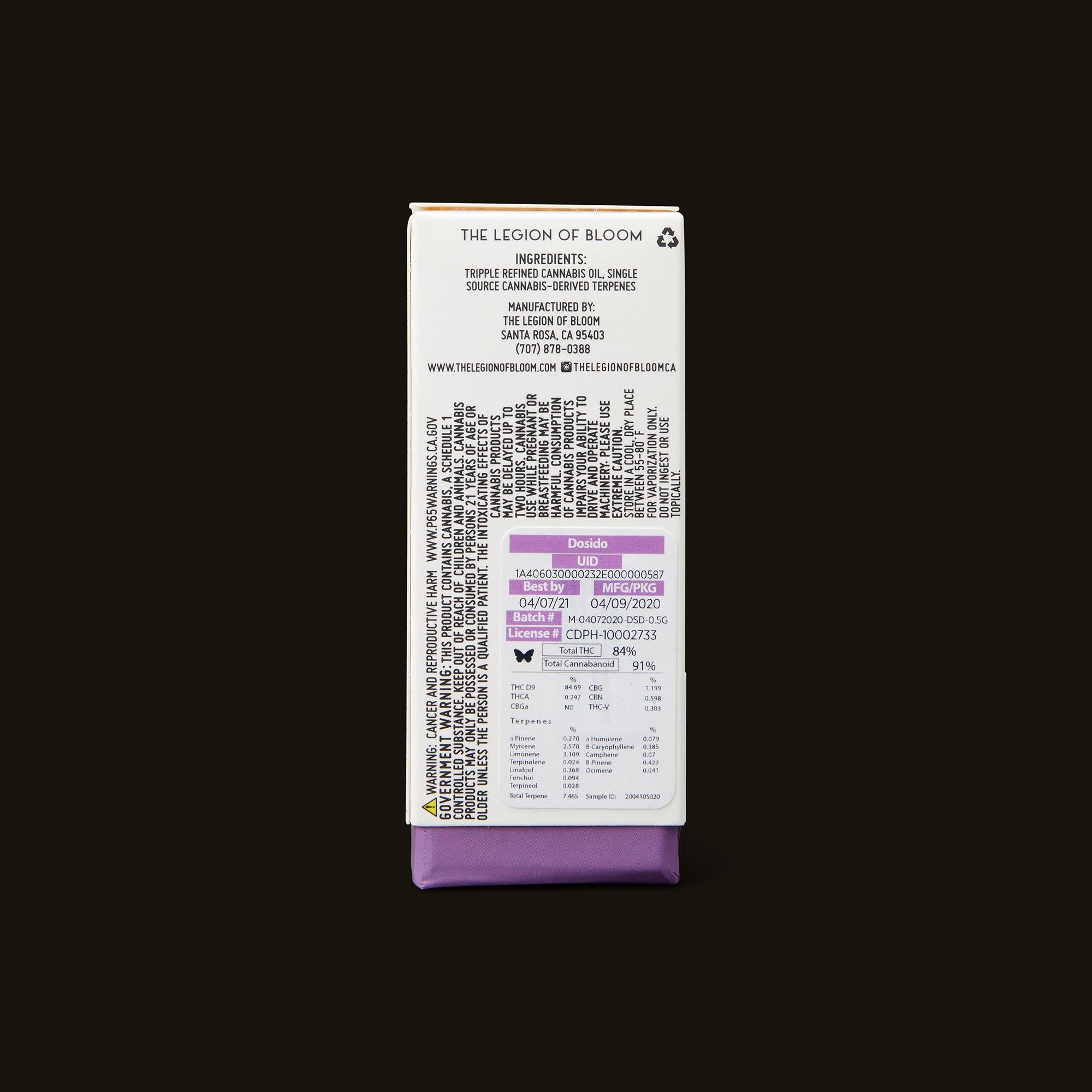 Legion of Bloom Dosido Monarch Back Packaging