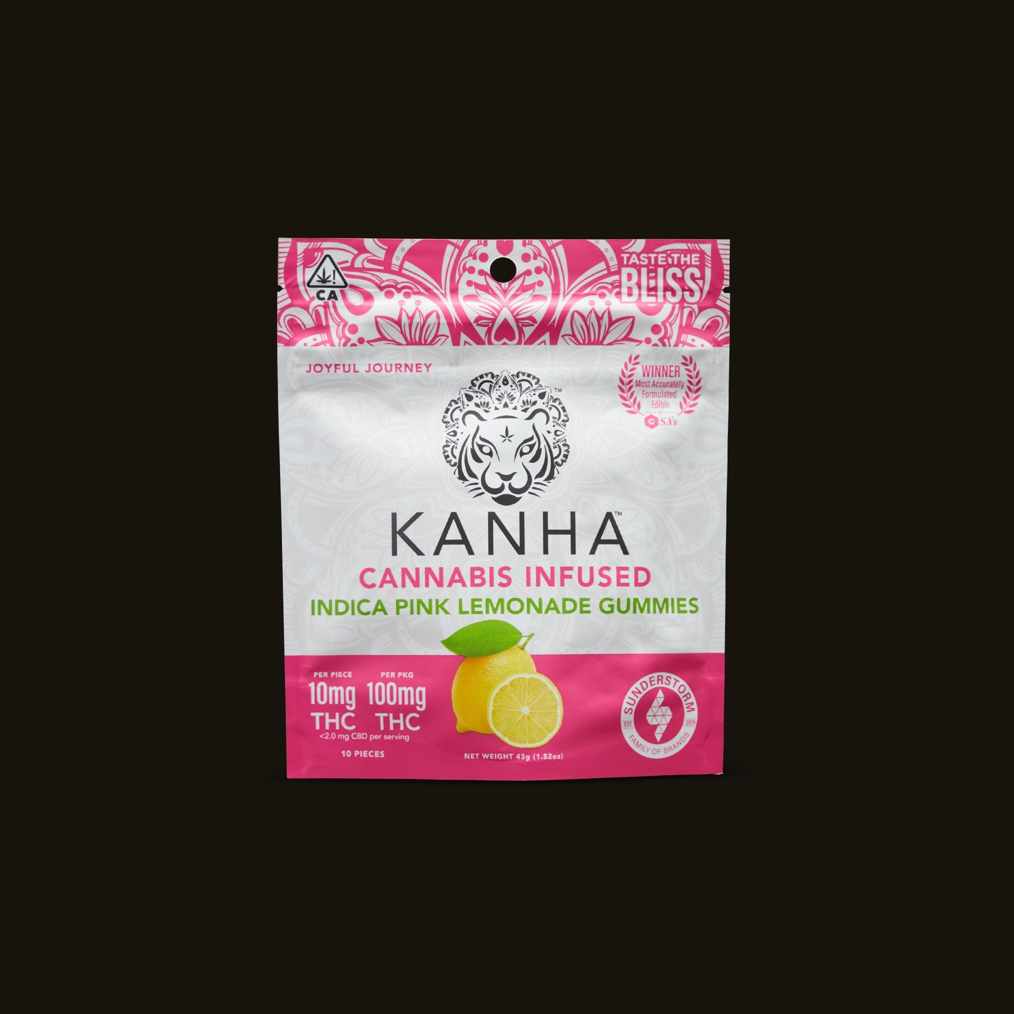 Kanha Pink Lemonade Gummies Front Packaging