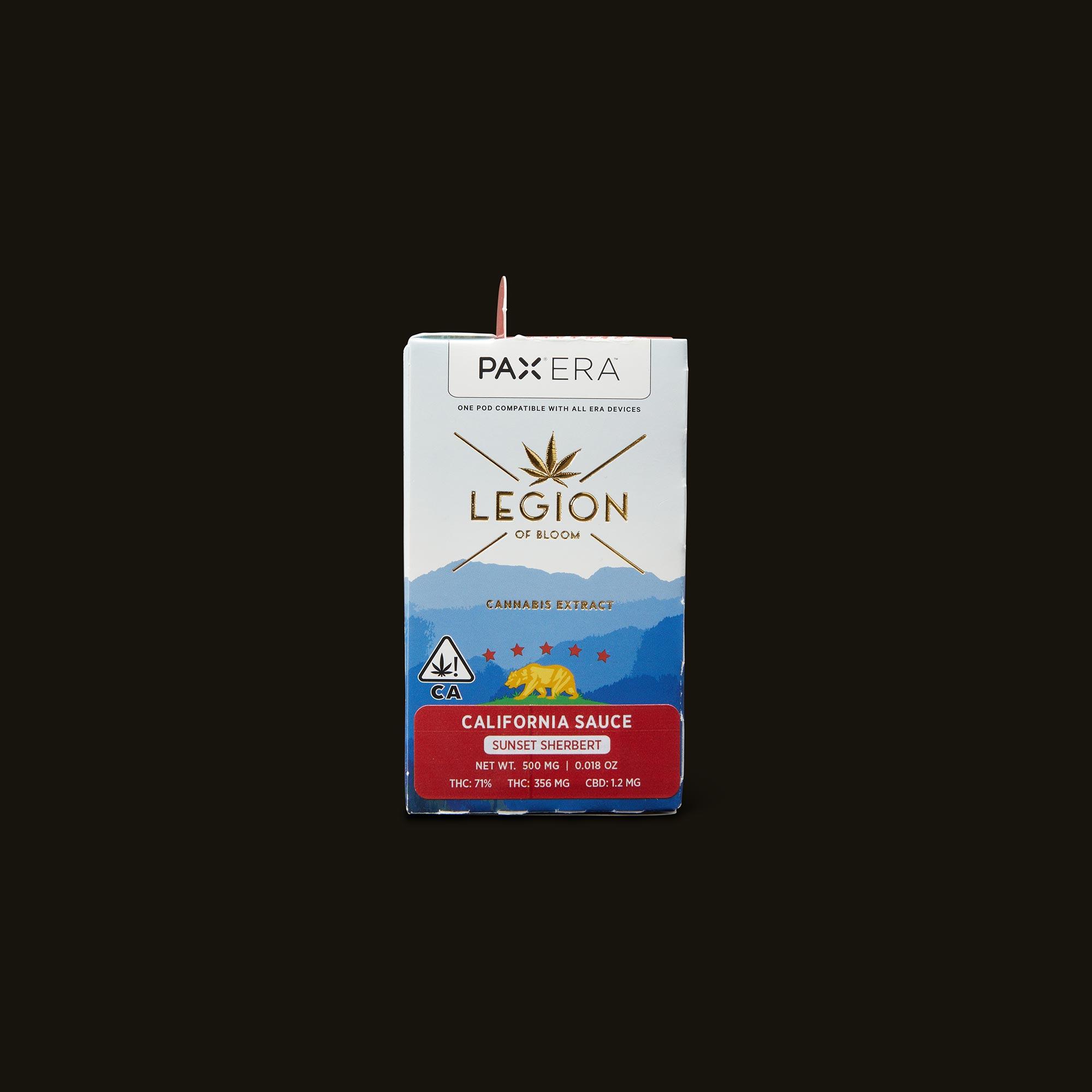 Legion of Bloom Sunset Sherbert California Sauce PAX Era Pod Front Packaging