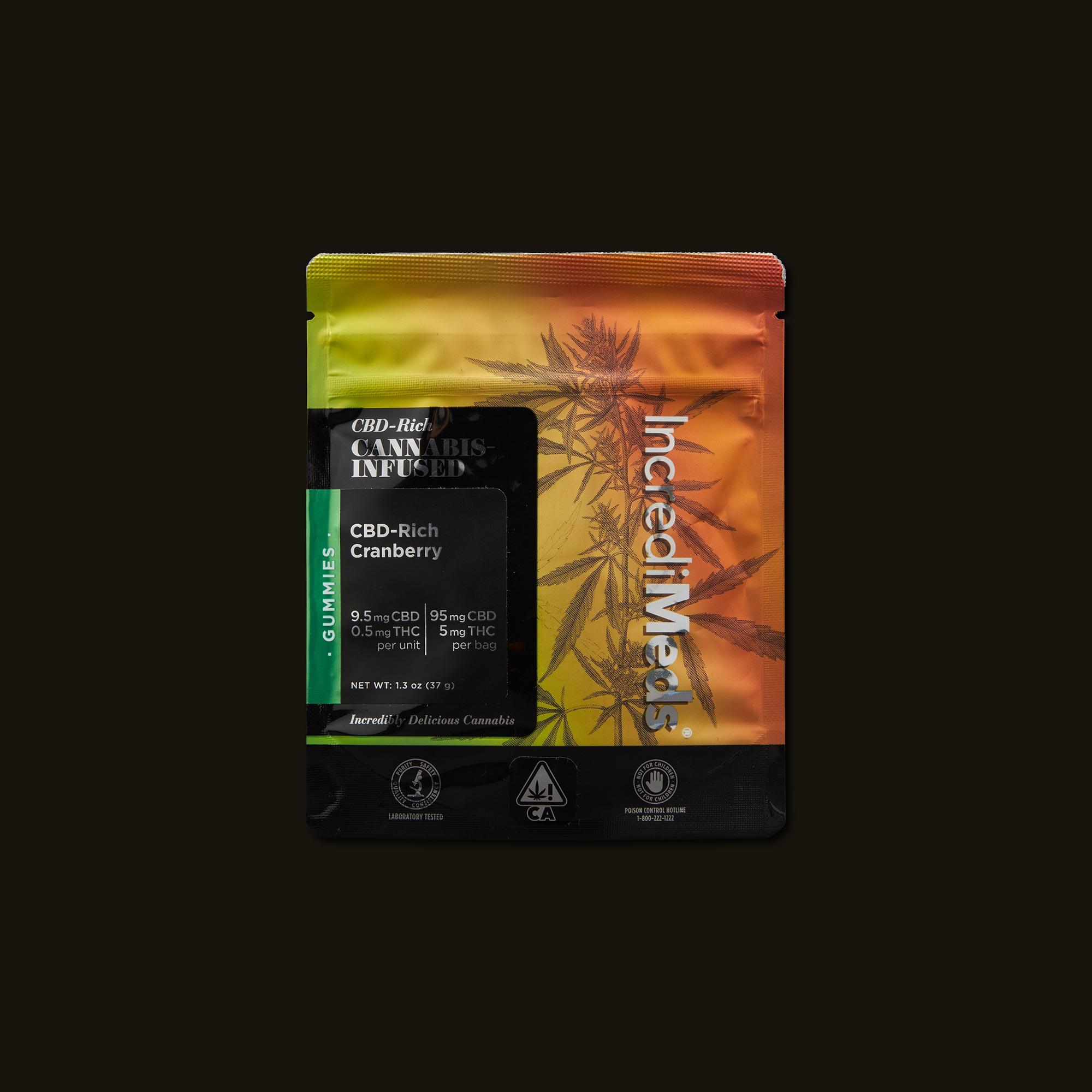 IncrediMeds CBD-Rich Cranberry Gummies Front Packaging