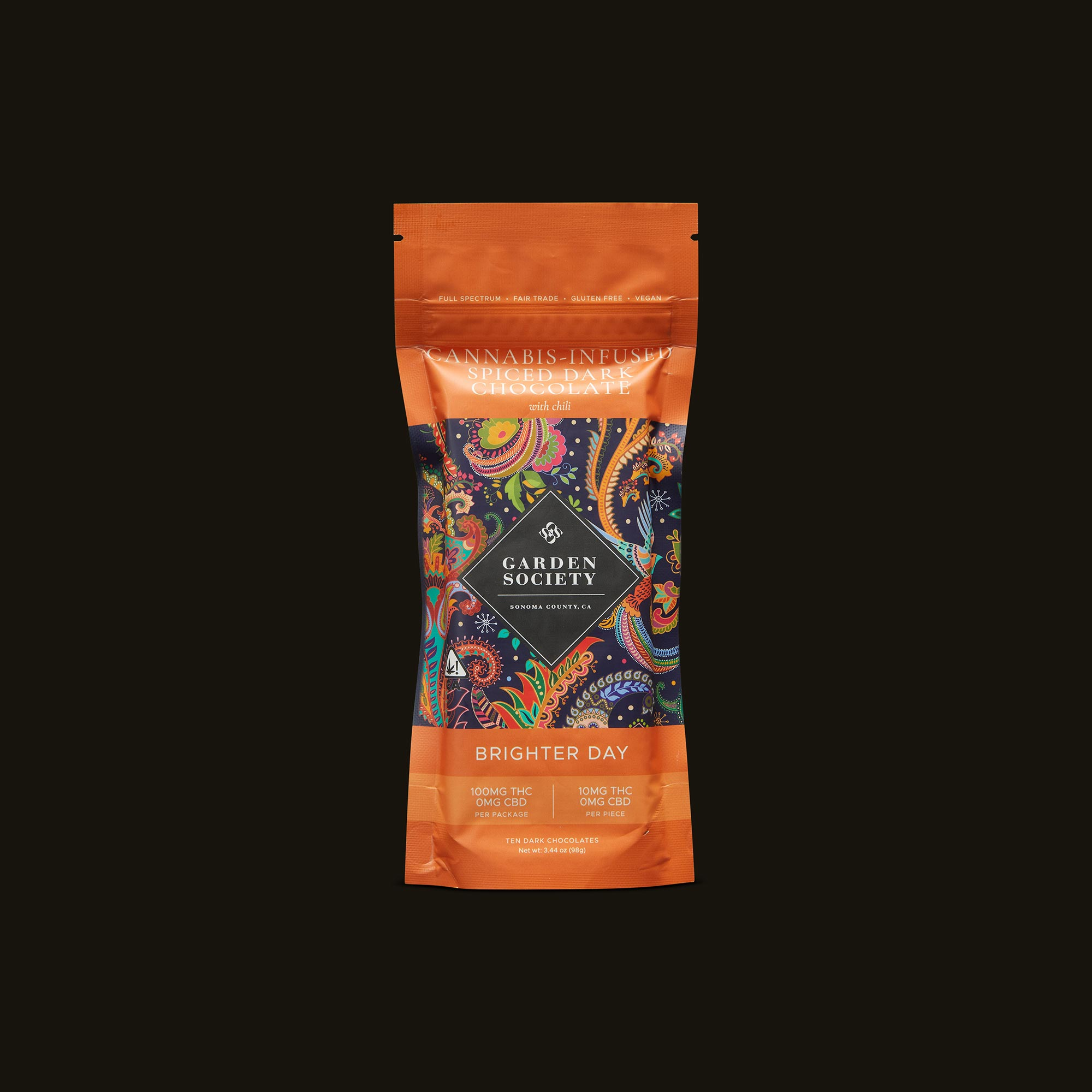 Garden Society Spiced Dark Chocolate with Chili Front Packaging