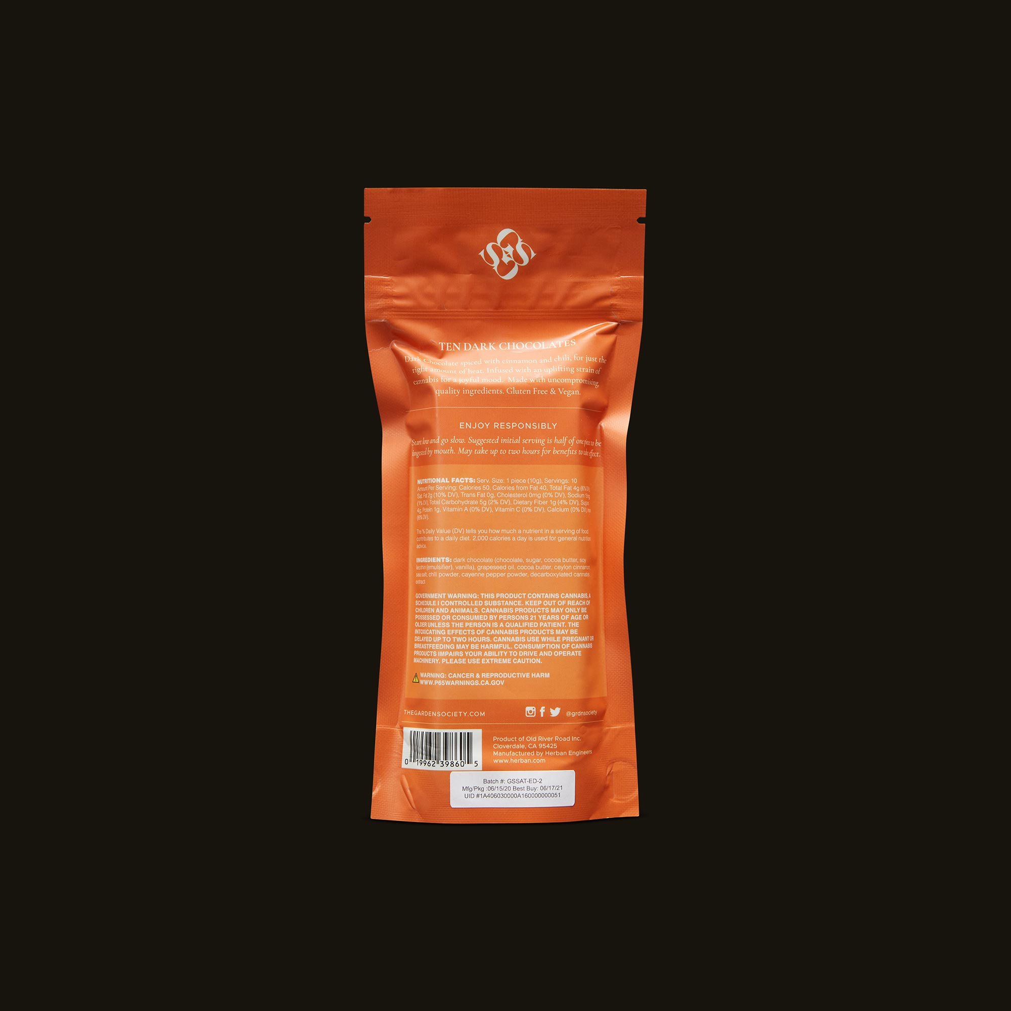 Garden Society Spiced Dark Chocolate with Chili Back Packaging