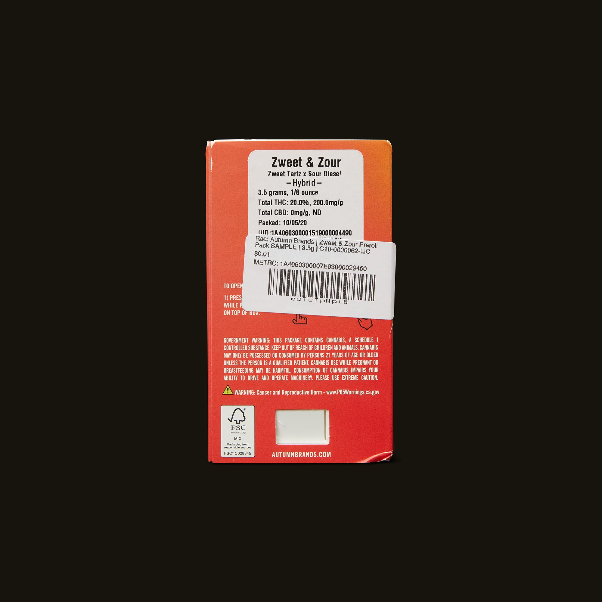 Autumn Brands Zweet and Zour Pack Back Packaging