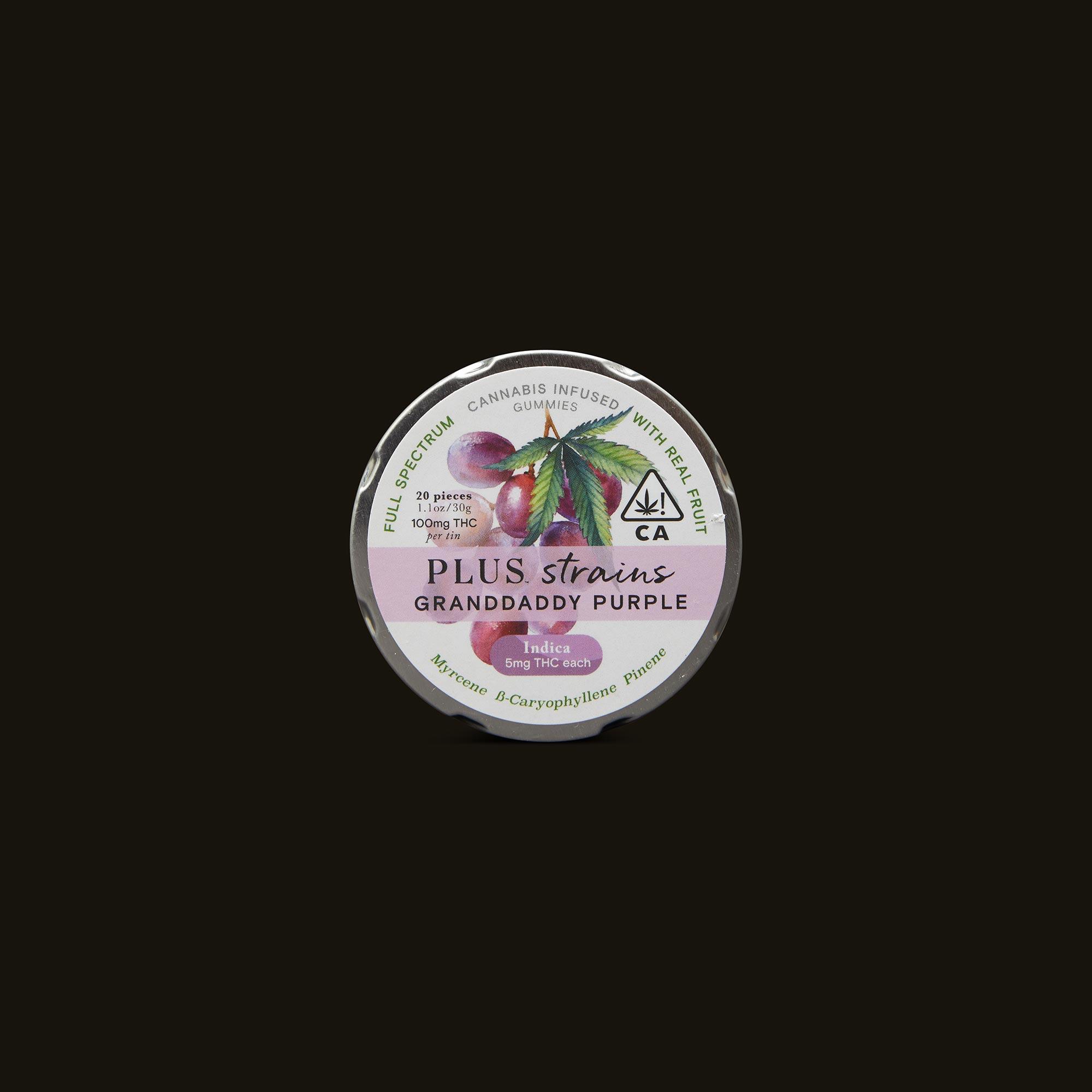 Plus Granddaddy Purple Strains Gummies Front Packaging
