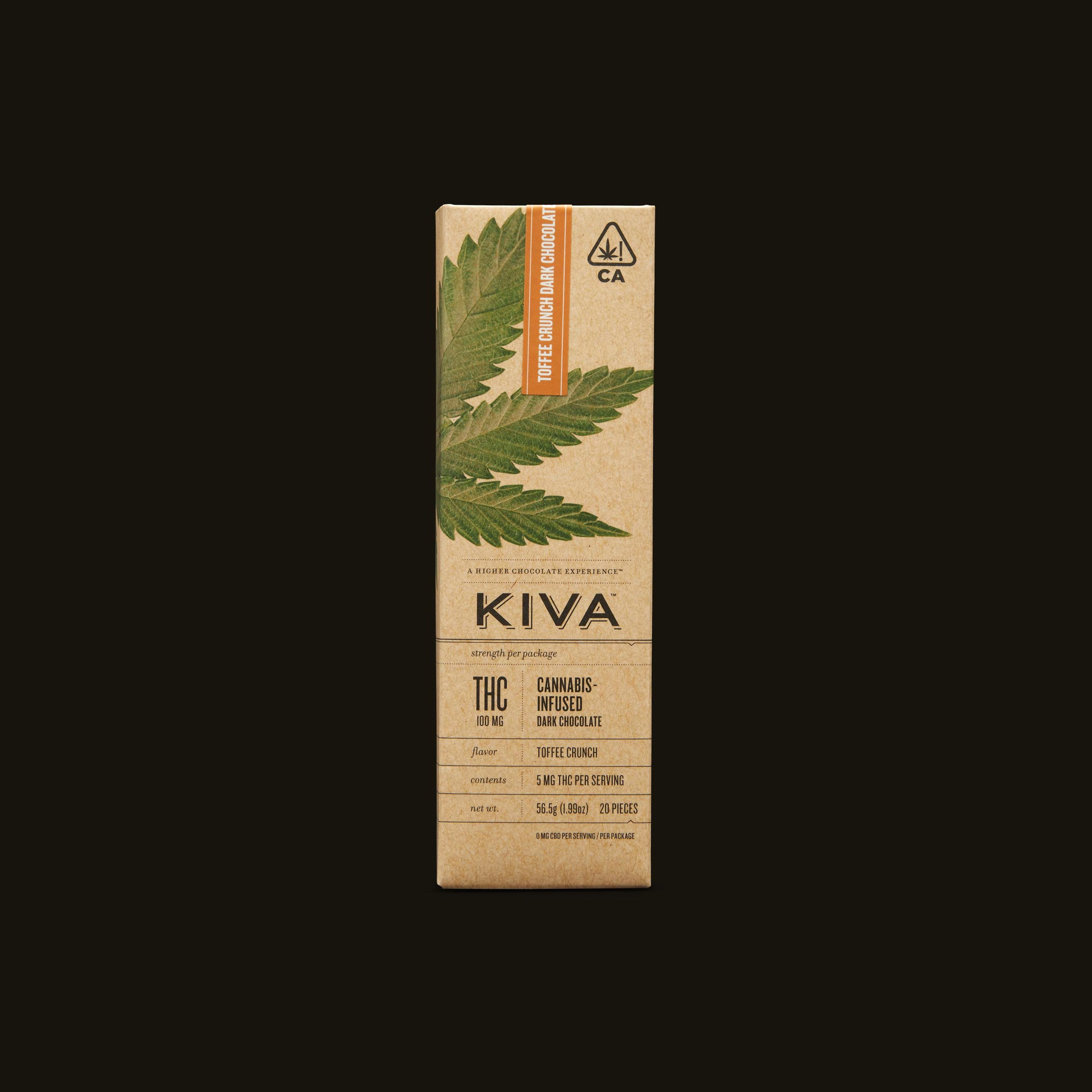 Kiva Confections Toffee Crunch Dark Chocolate Kiva Bar Front Packaging