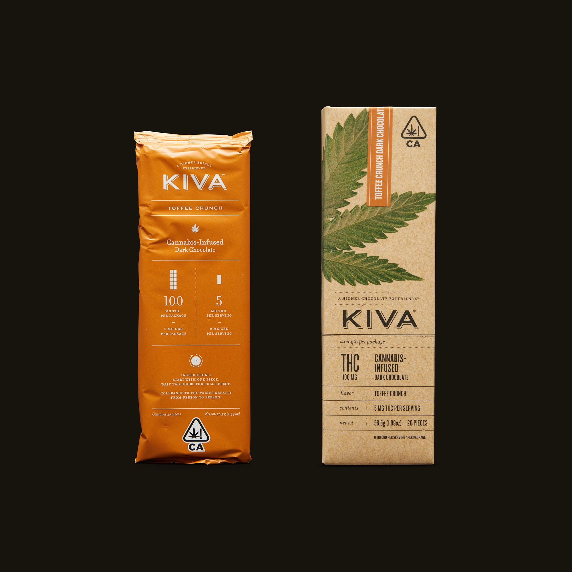 Kiva Confections Toffee Crunch Dark Chocolate Kiva Bar Inner Packaging and Packaging