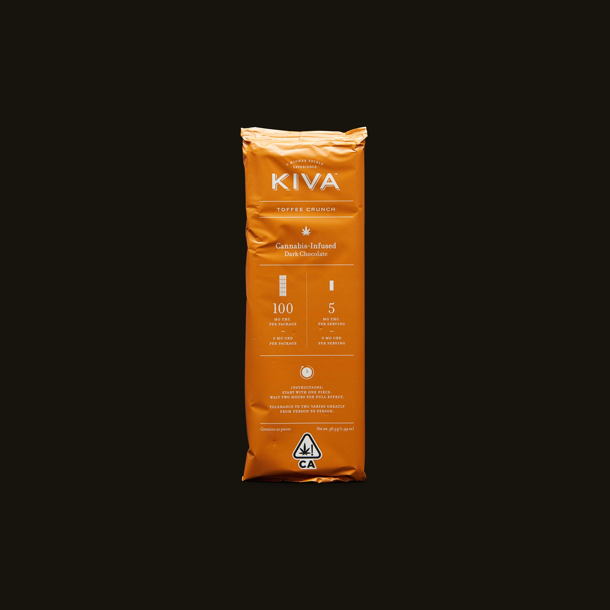 Kiva Confections Toffee Crunch Dark Chocolate Kiva Bar Packaging
