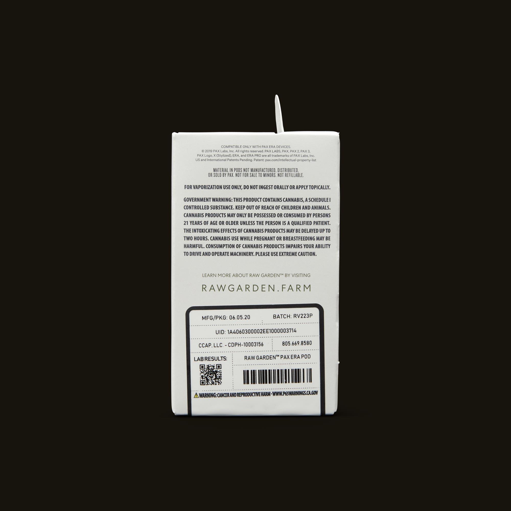 Raw Garden Agua De Fresa Live Resin PAX Era Pod Back Packaging