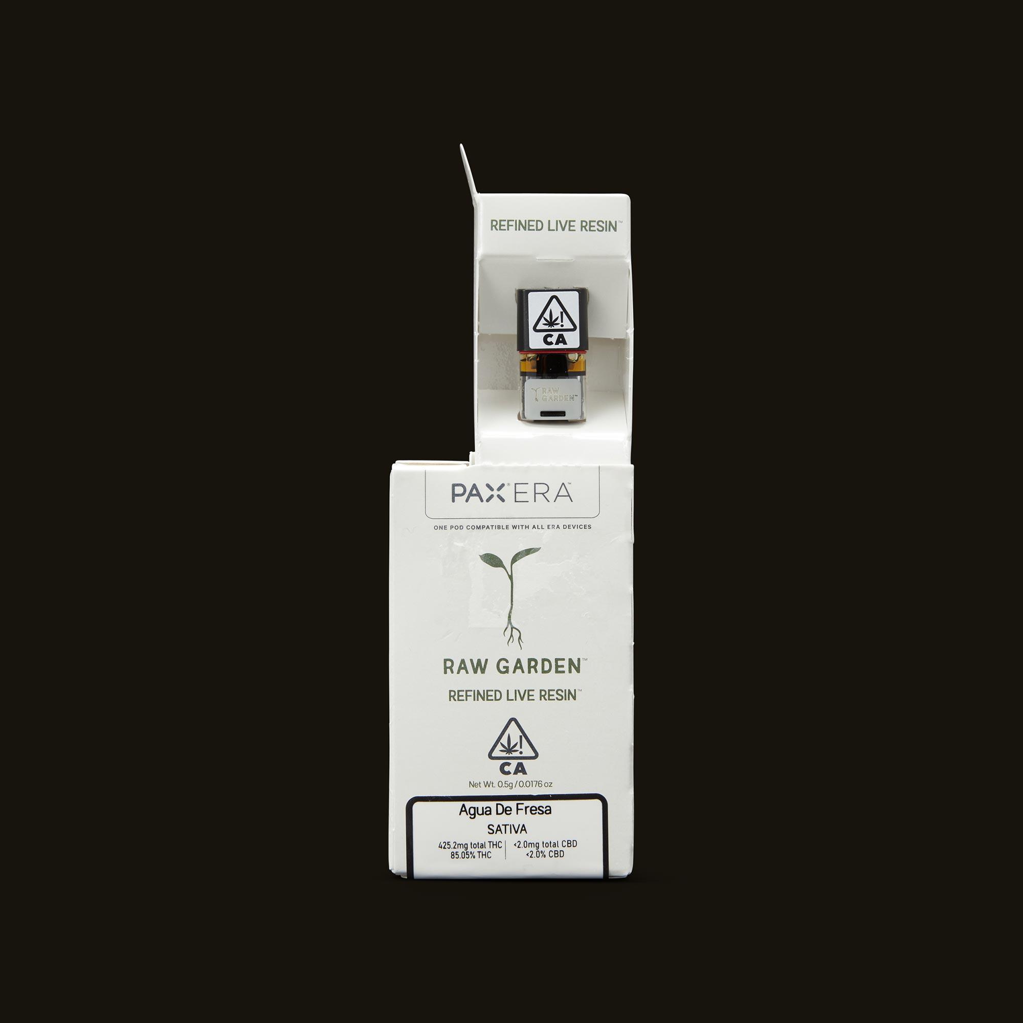 Raw Garden Agua De Fresa Live Resin PAX Era Pod Open Packaging