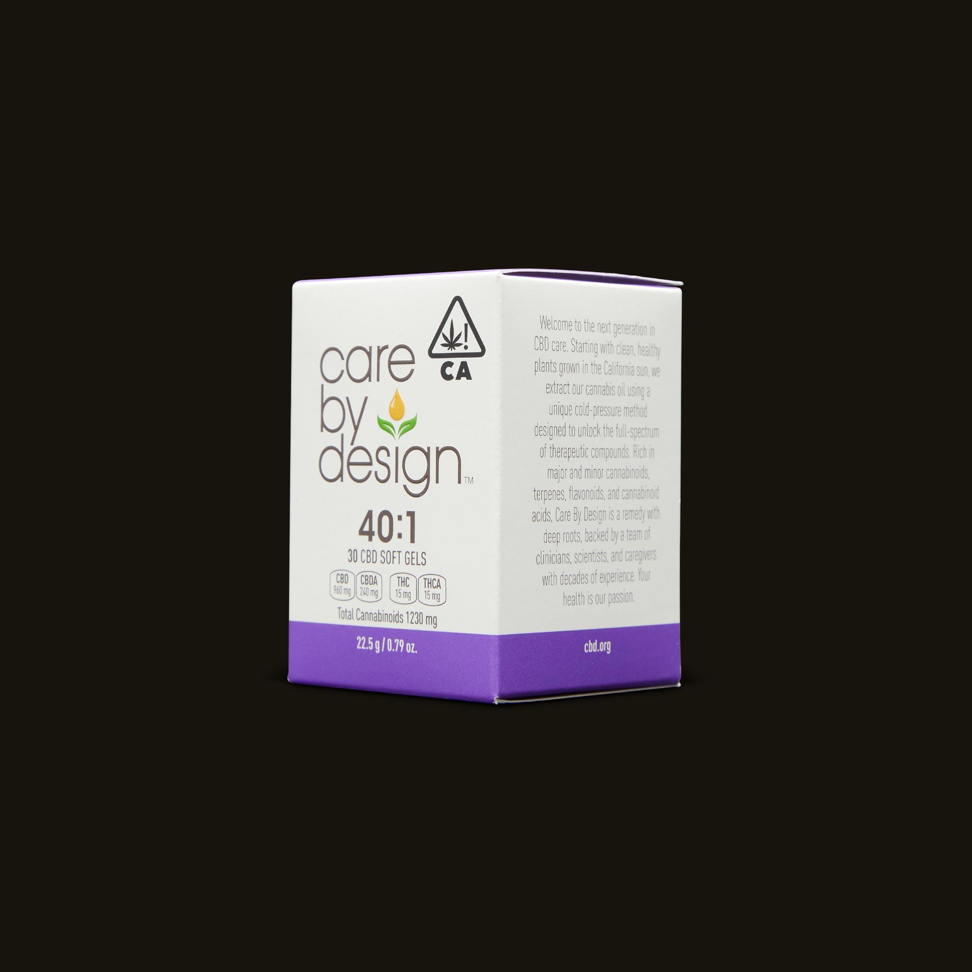 Care By Design 40:1 Soft Gels 30-Pack Side Packaging