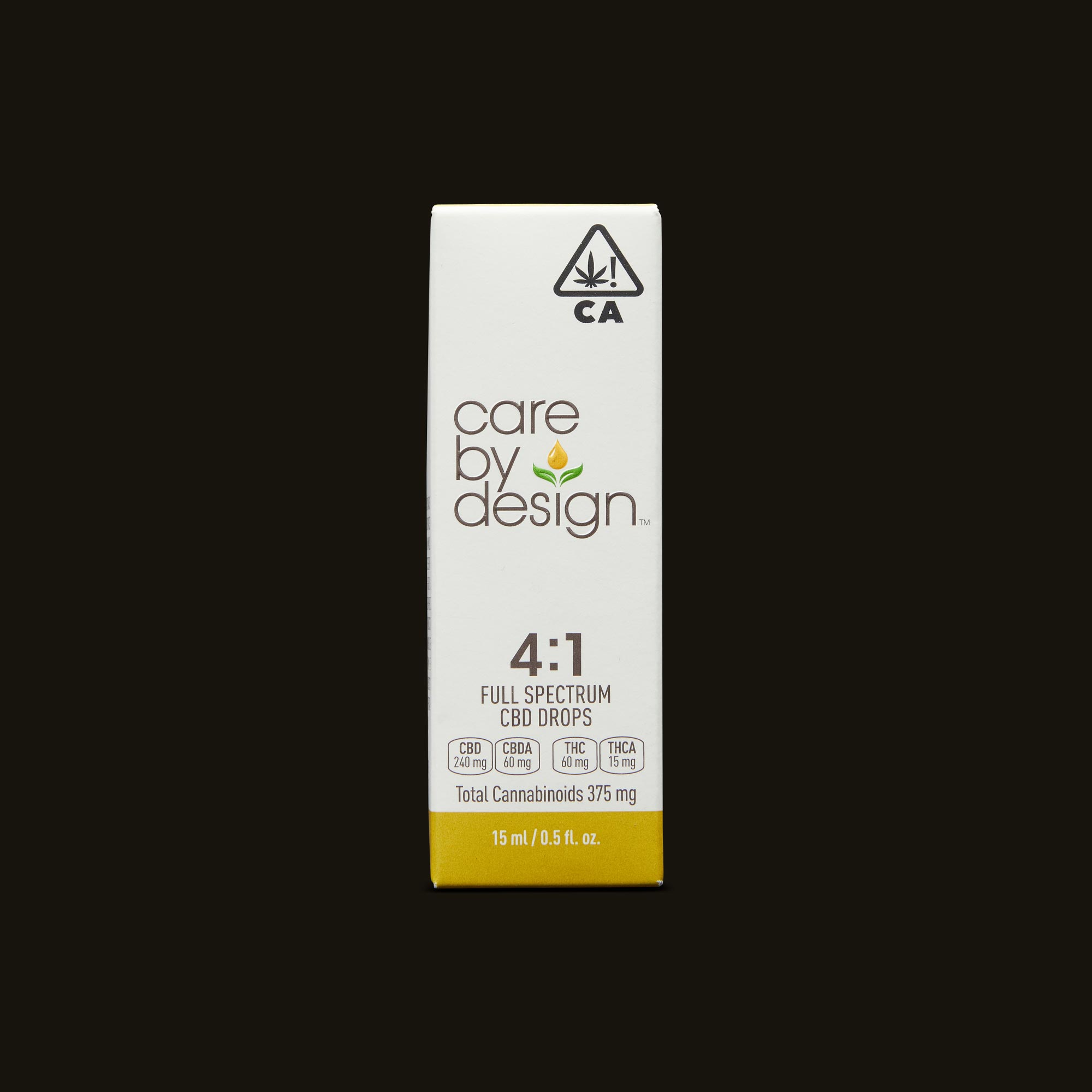 Care By Design 4:1 Full Spectrum CBD Drops - 0.5oz Front Packaging