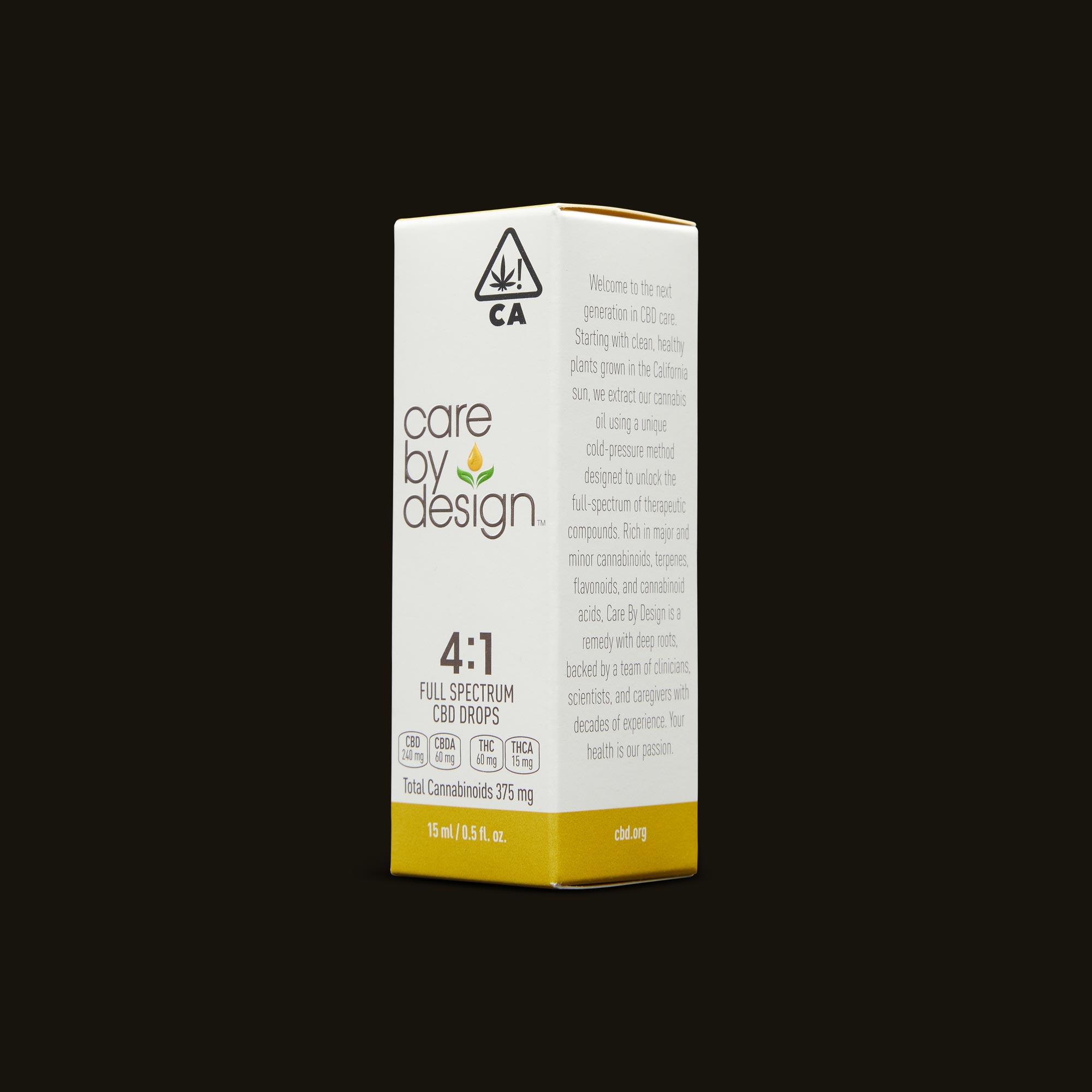 Care By Design 4:1 Full Spectrum CBD Drops - 0.5oz Side Packaging