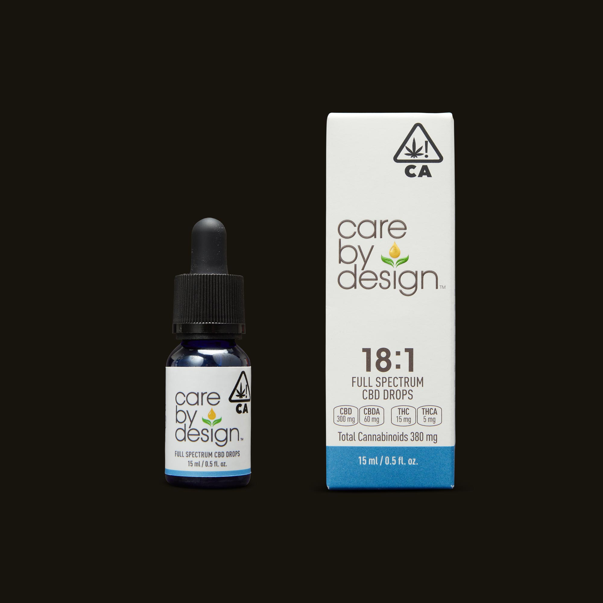 Care By Design 18:1 Full Spectrum CBD Drops - 0.5oz Tincture and Packaging
