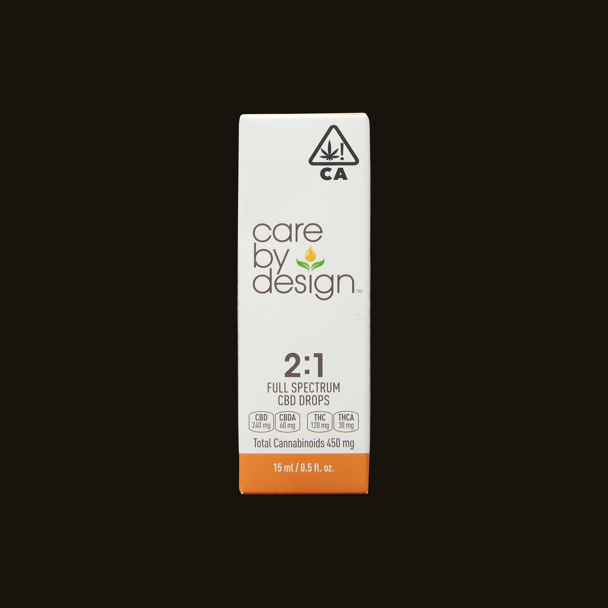 Care By Design 2:1 Full Spectrum CBD Drops - 0.5oz Front Packaging