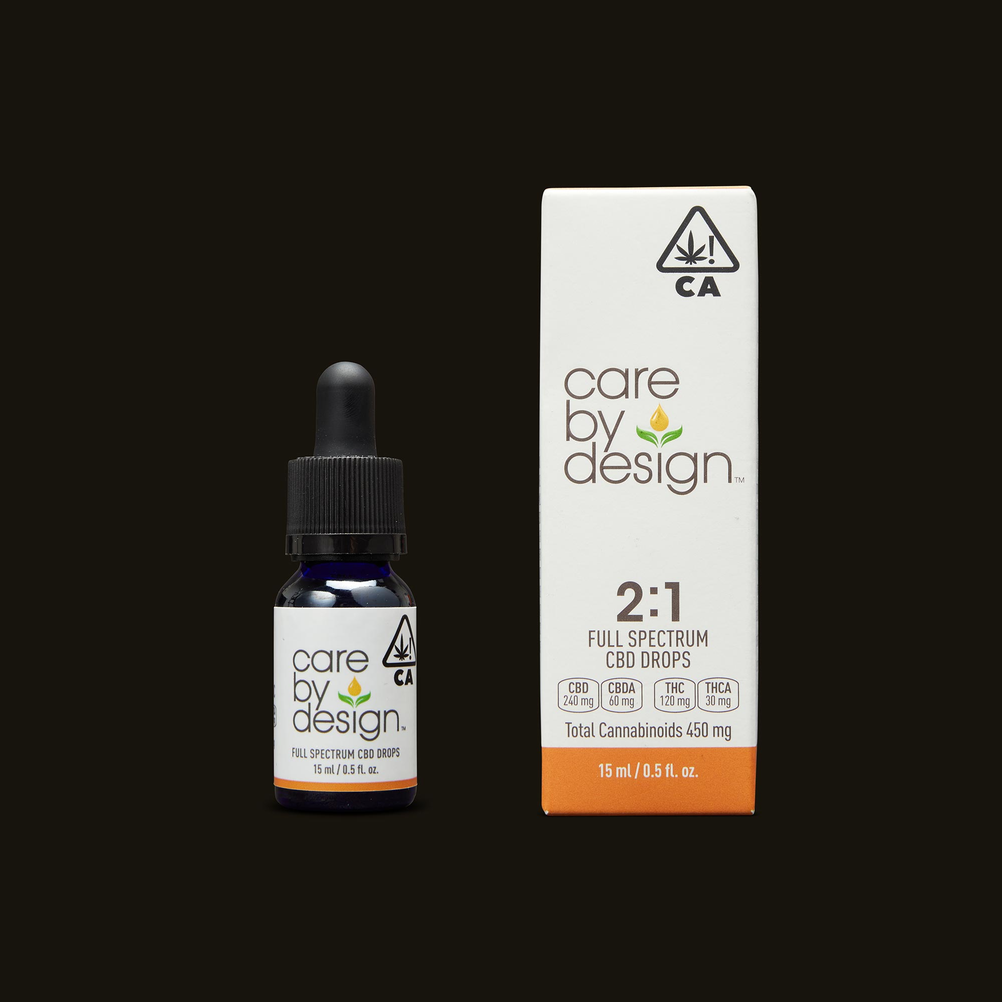 Care By Design 2:1 Full Spectrum CBD Drops - 0.5oz Tincture and Packaging
