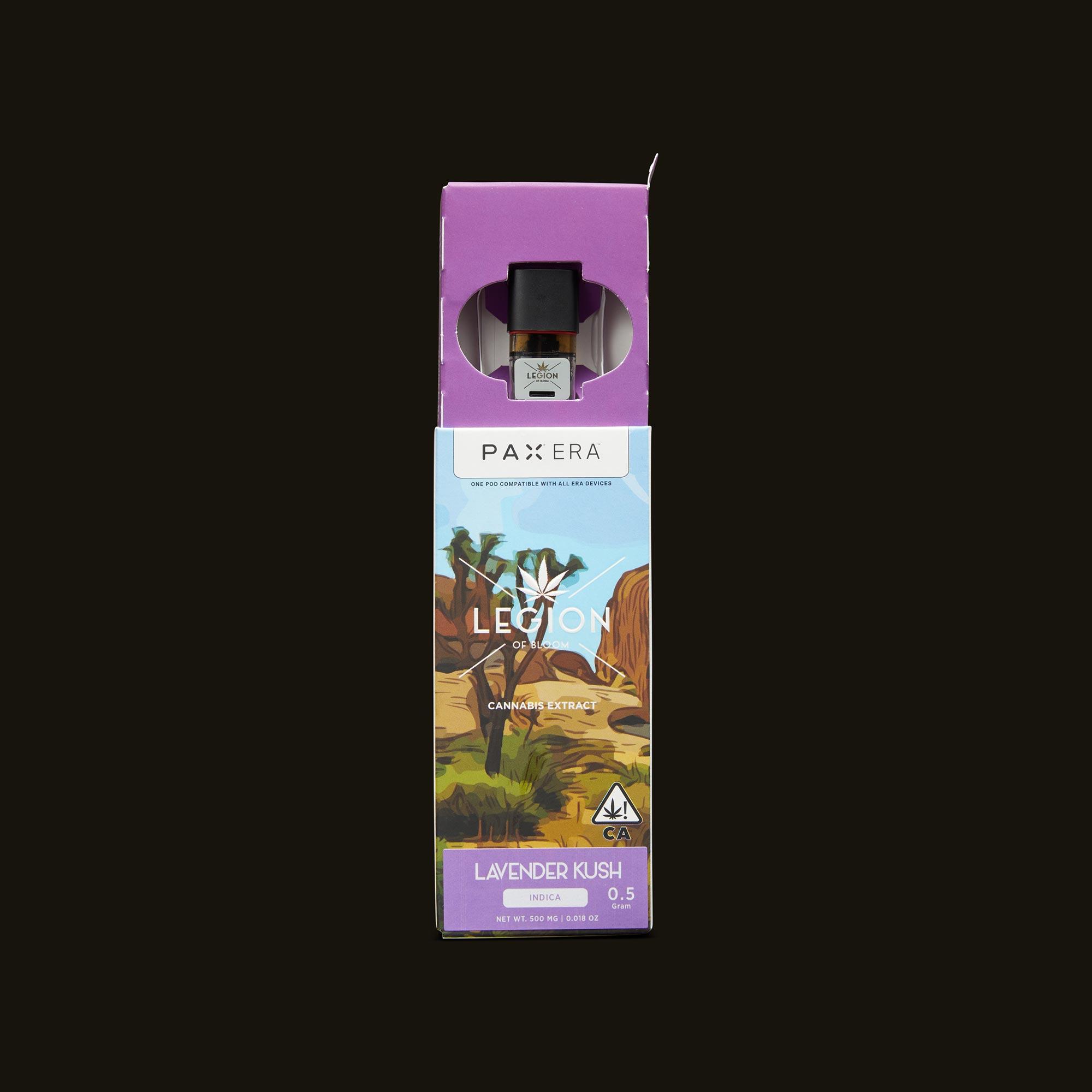 Legion of Bloom Lavender Kush PAX Era Pod Open Packaging