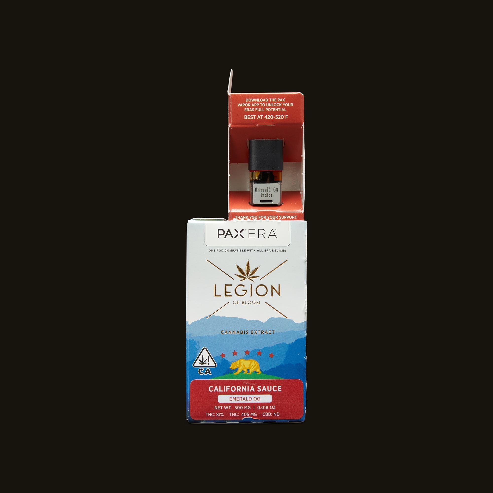 Legion of Bloom Emerald OG Sauce PAX Era Pod Open Packaging