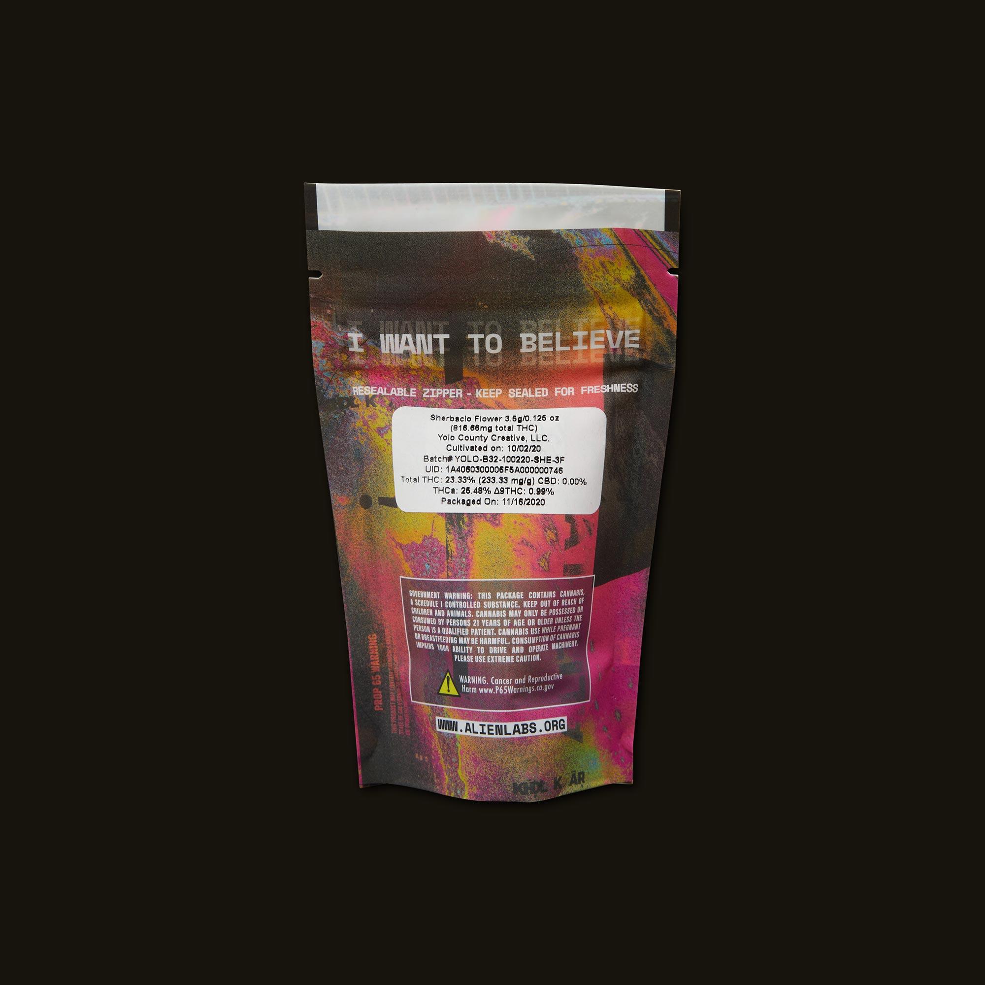 AlienLabs Sungrown Sherbacio Back Packaging