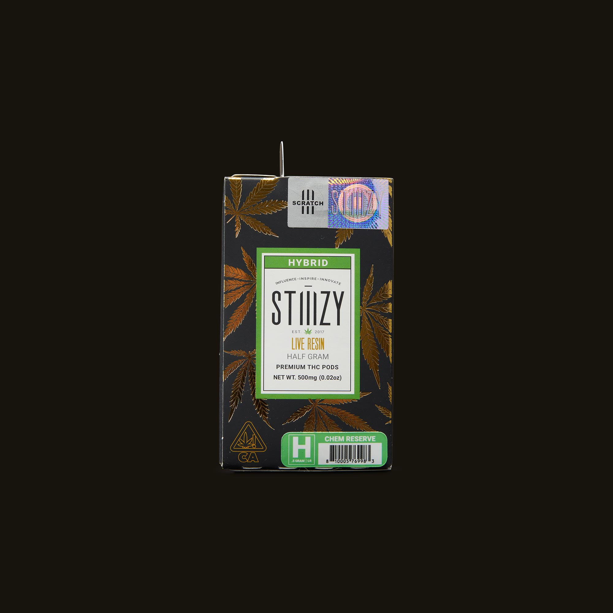 Stiiizy Gold - Chem Reserve Live Resin Pod Front Packaging