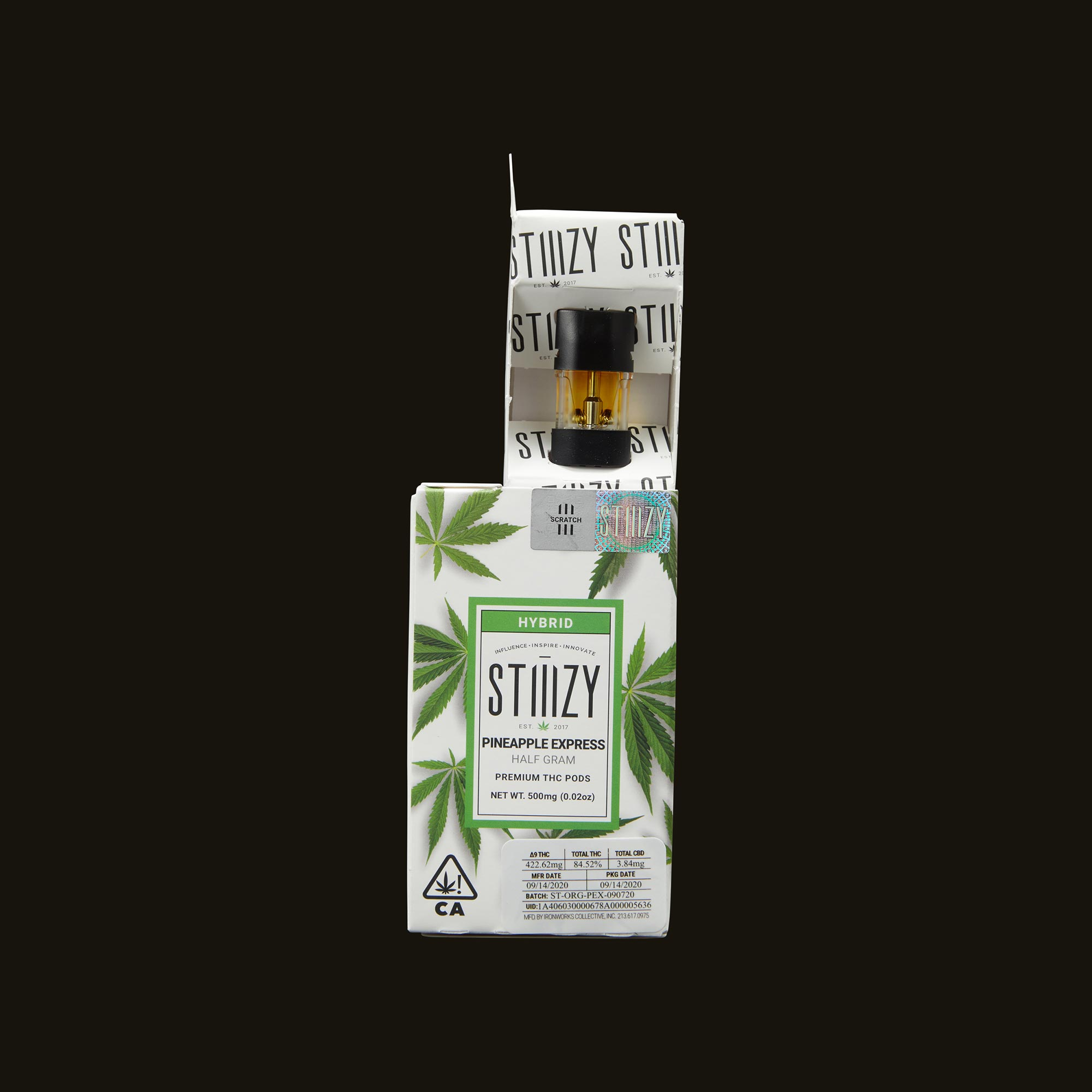 Stiiizy Pineapple Express Pod Open Packaging