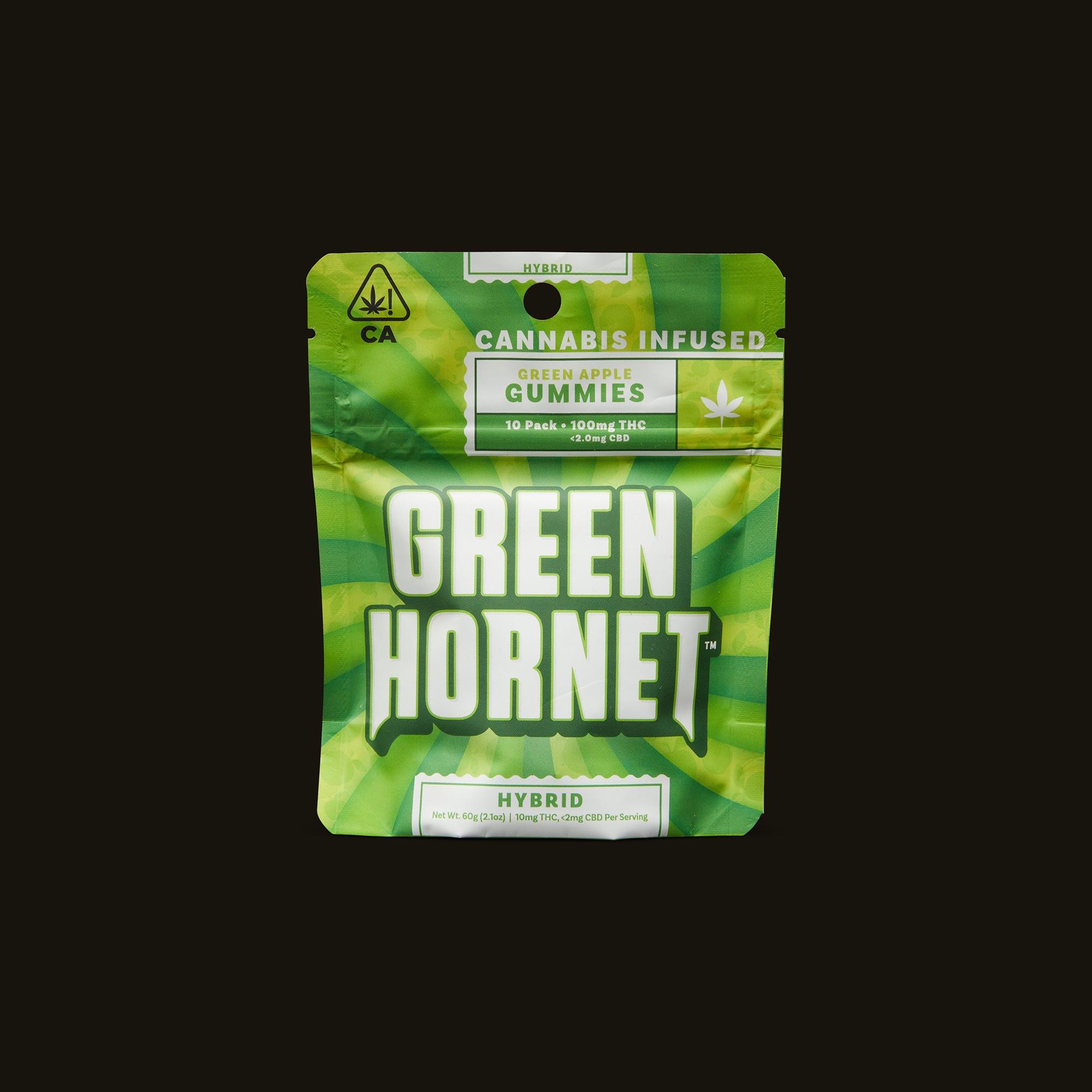 Green Hornet Hybrid Green Apple Gummies Front Packaging
