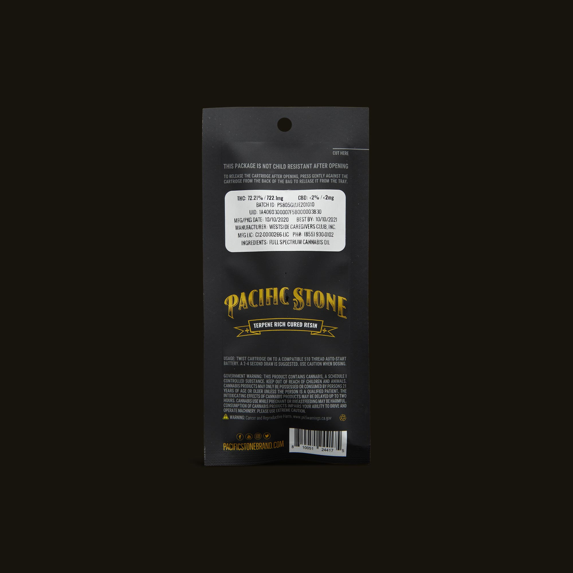 Pacific Stone 805 Glue Sauce Cartridge Back Packaging