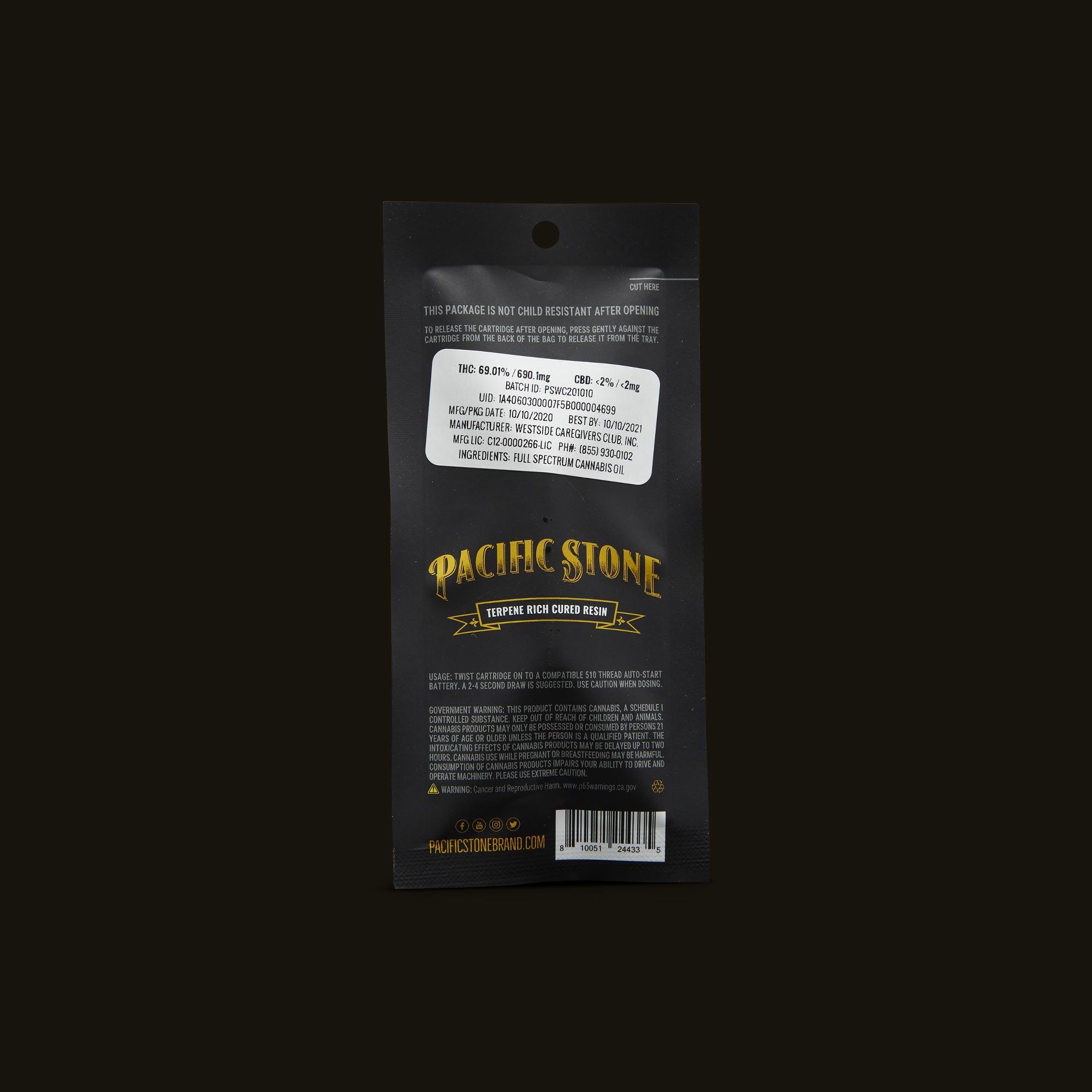 Pacific Stone Wedding Cake Sauce Cartridge Back Packaging