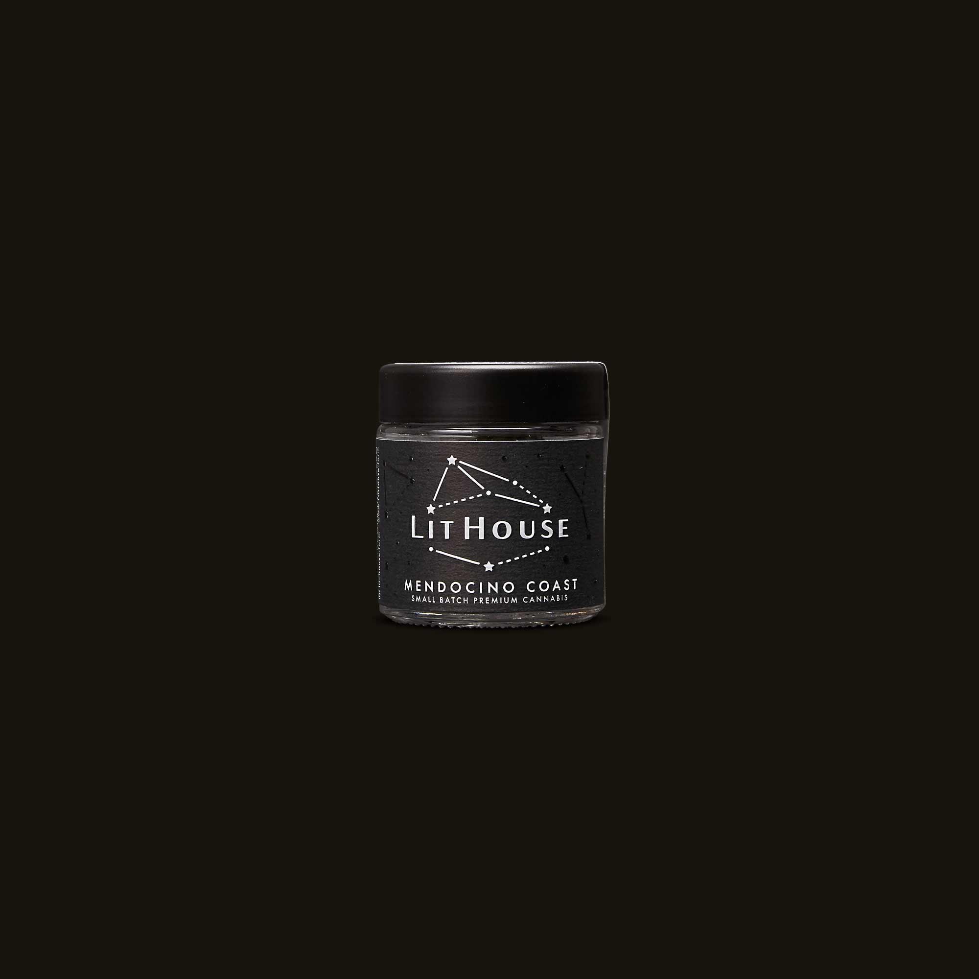 Jar of Dark Dosi dark weed by Lithouse