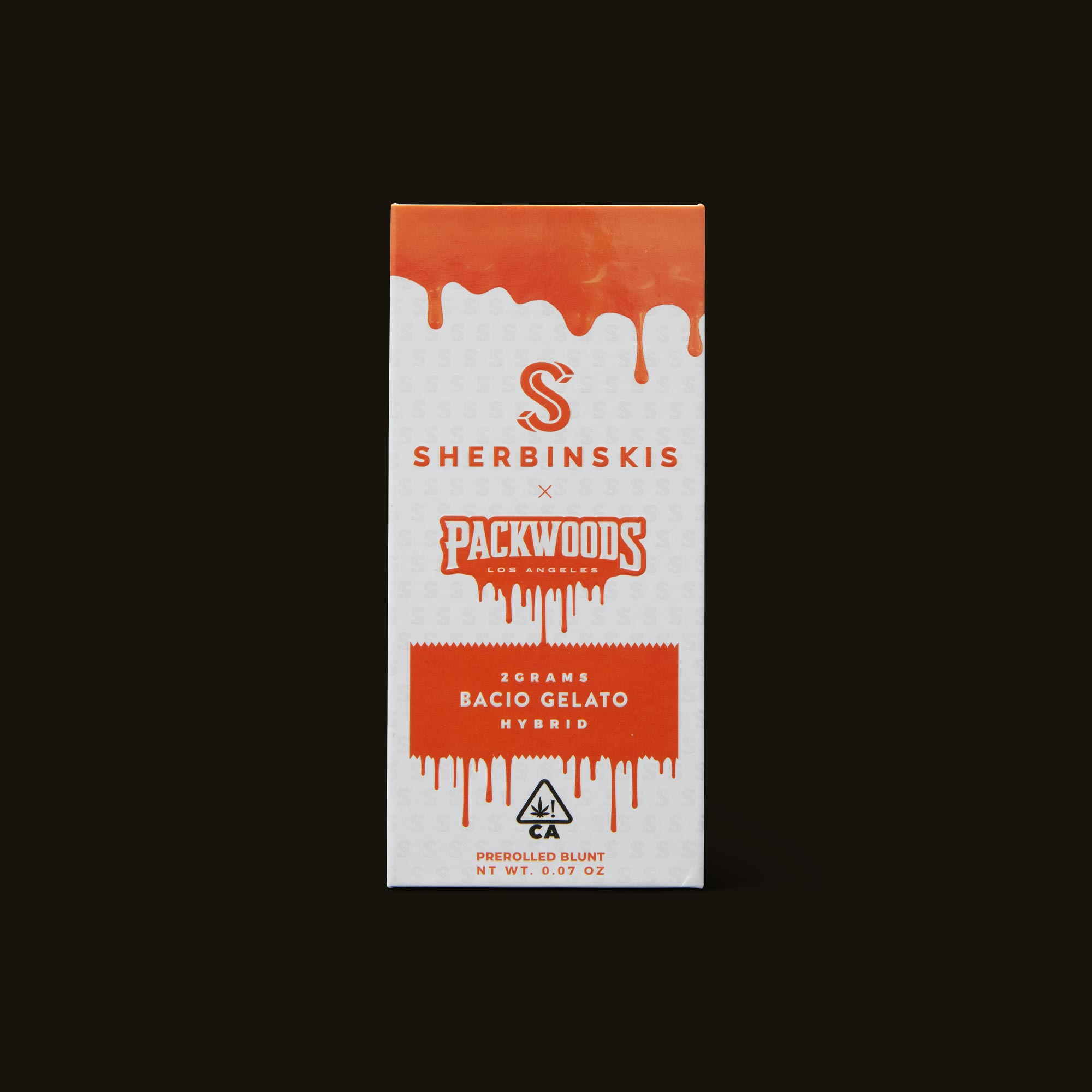 Packwoods Sherbinskis x Packwoods Bacio Gelato Blunt Front Packaging