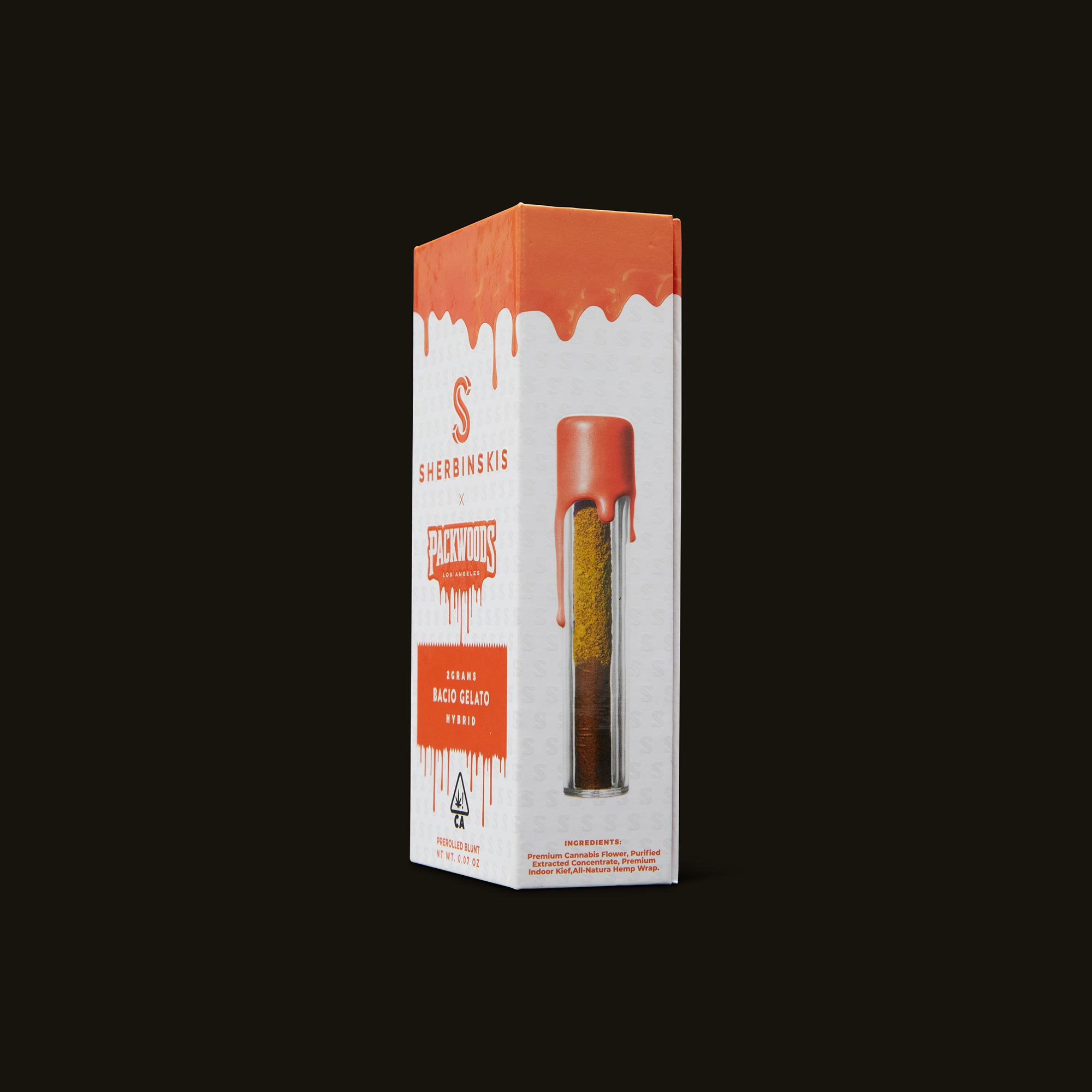 Packwoods Sherbinskis x Packwoods Bacio Gelato Blunt Side Packaging