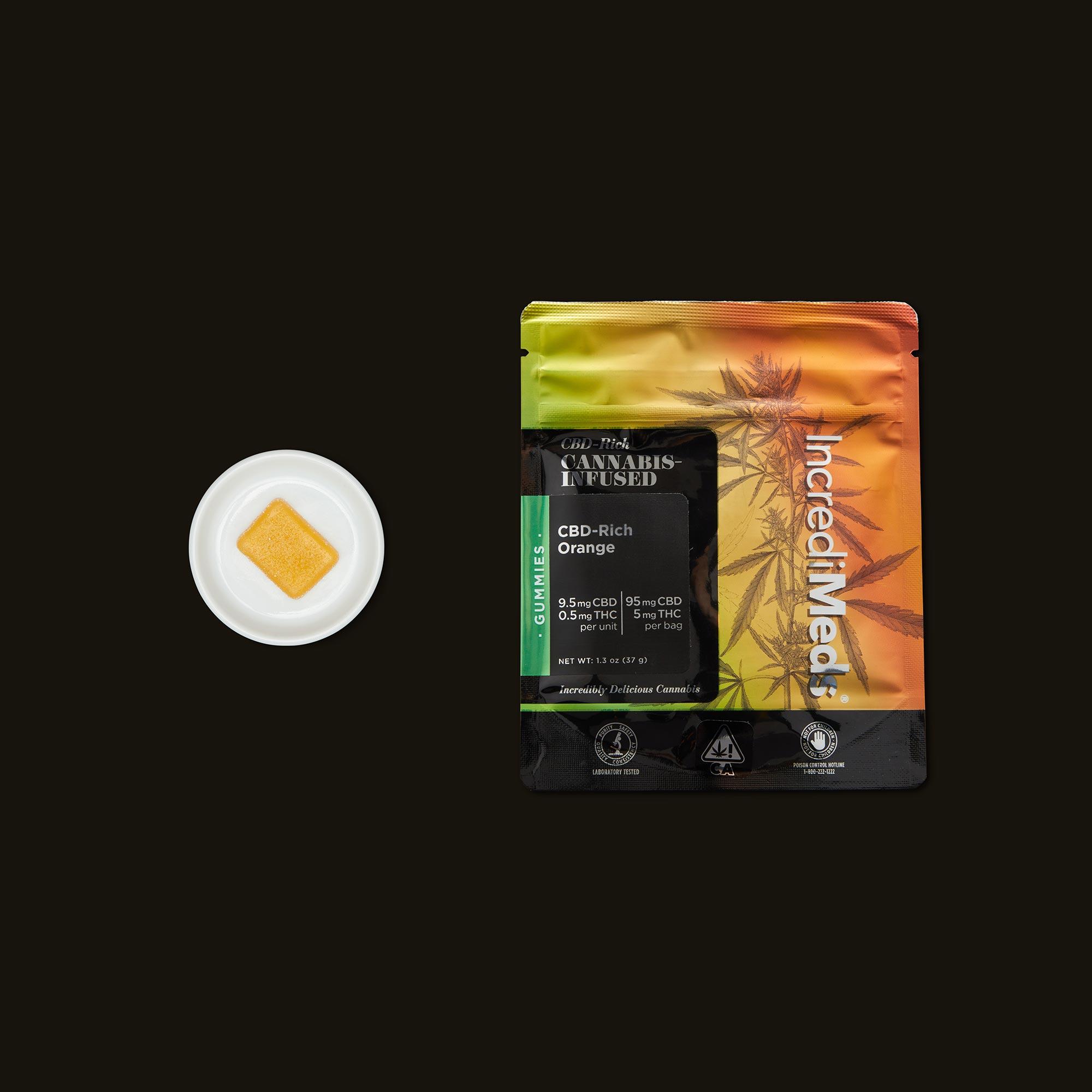 IncrediMeds CBD-Rich Orange Gummies with Packaging