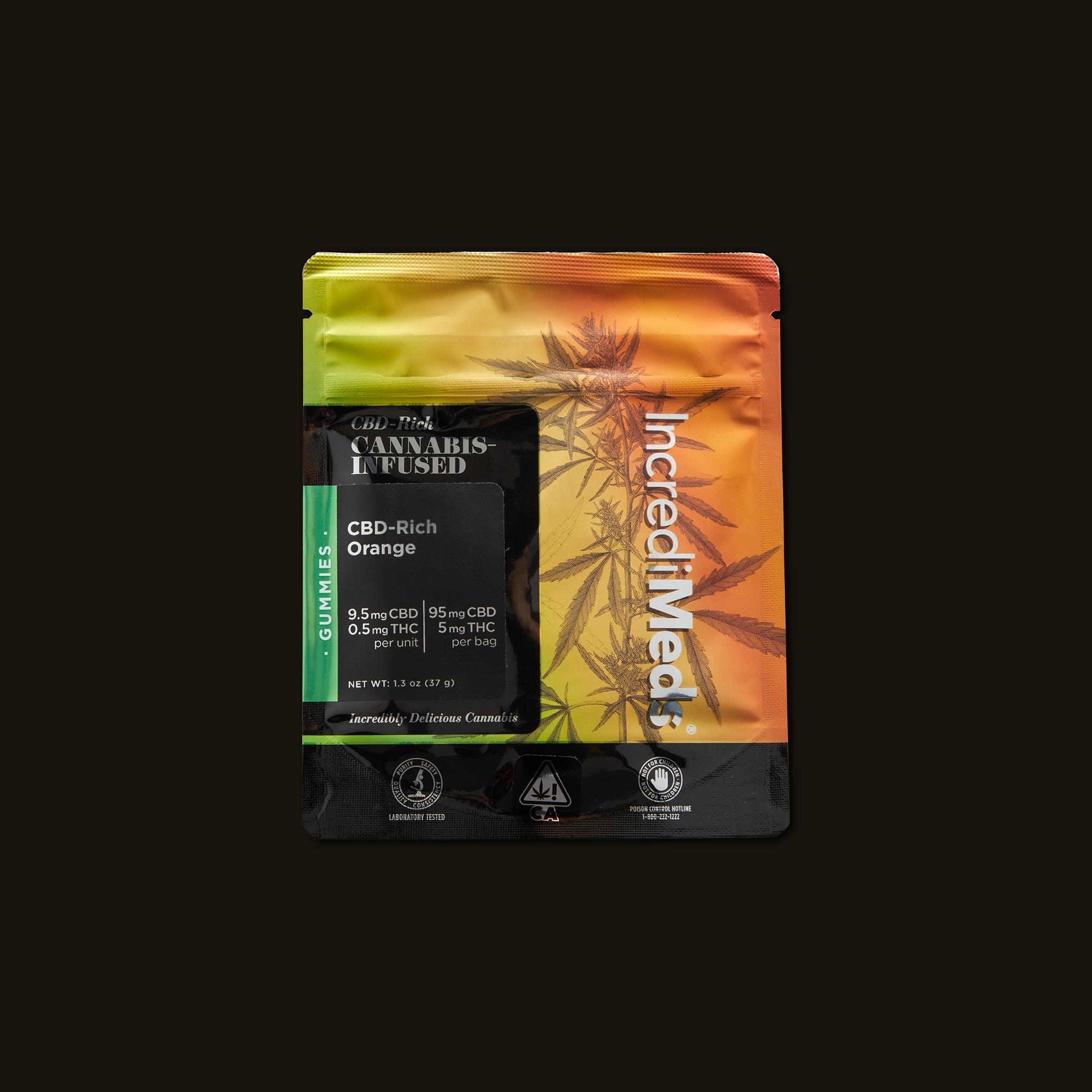 IncrediMeds CBD-Rich Orange Gummies Front of Packaging