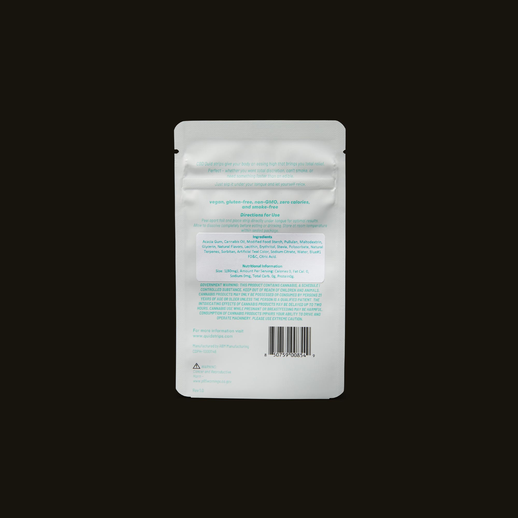 Quid Mint 10:1 Strips Ingredients