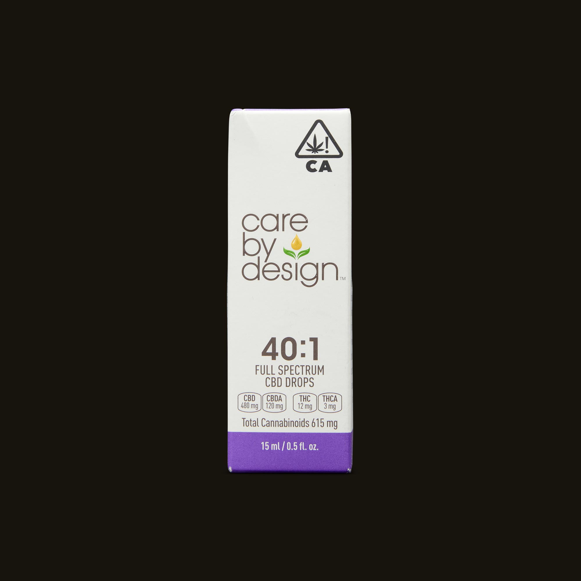 Care By Design 40:1 Full Spectrum CBD Drops - 0.5oz Front Packaging