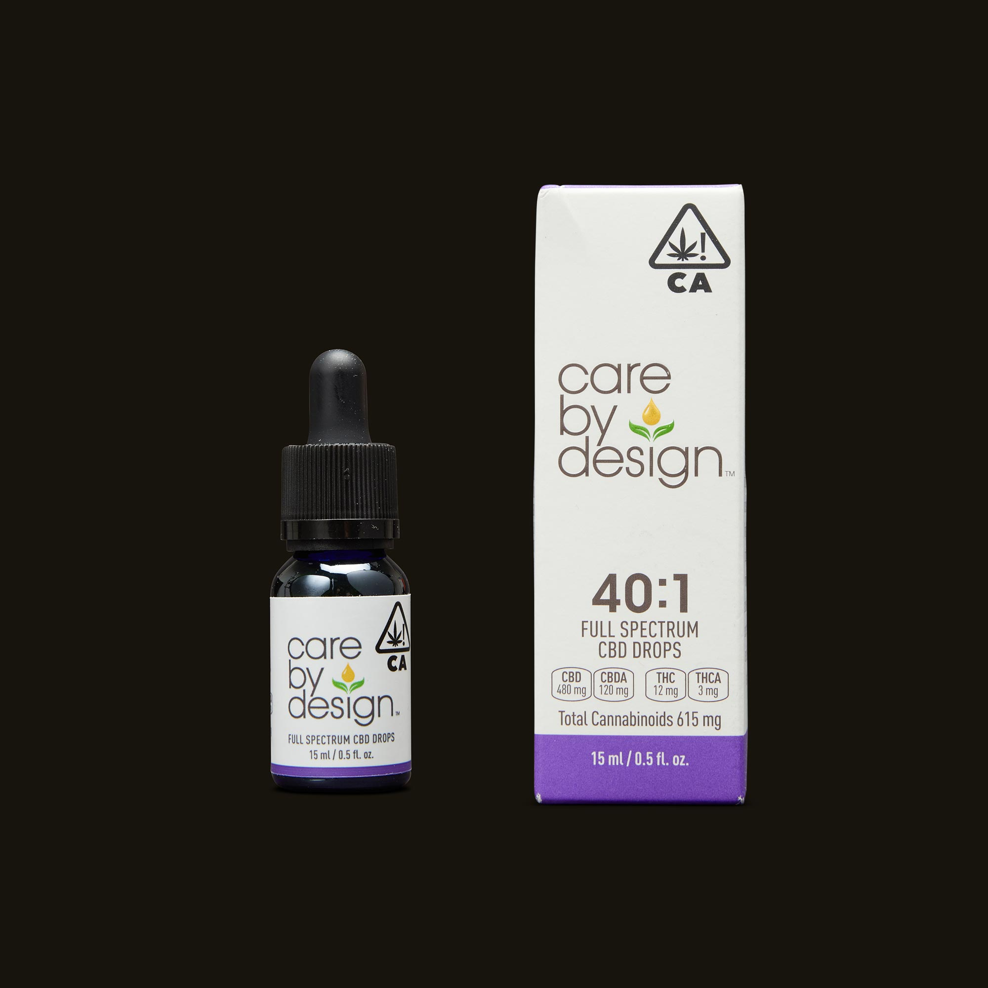 Care By Design 40:1 Full Spectrum CBD Drops - 0.5oz Tincture and Packaging
