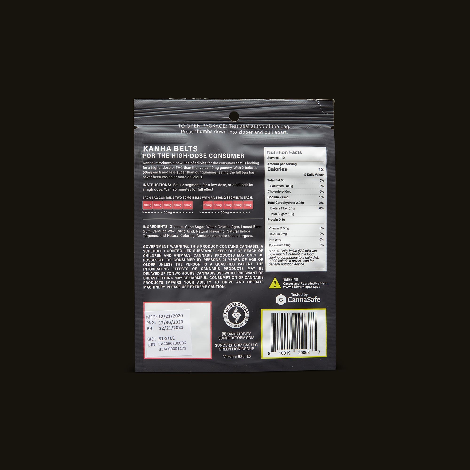 Kanha Strawberry Lemonade Indica Belts Ingredients
