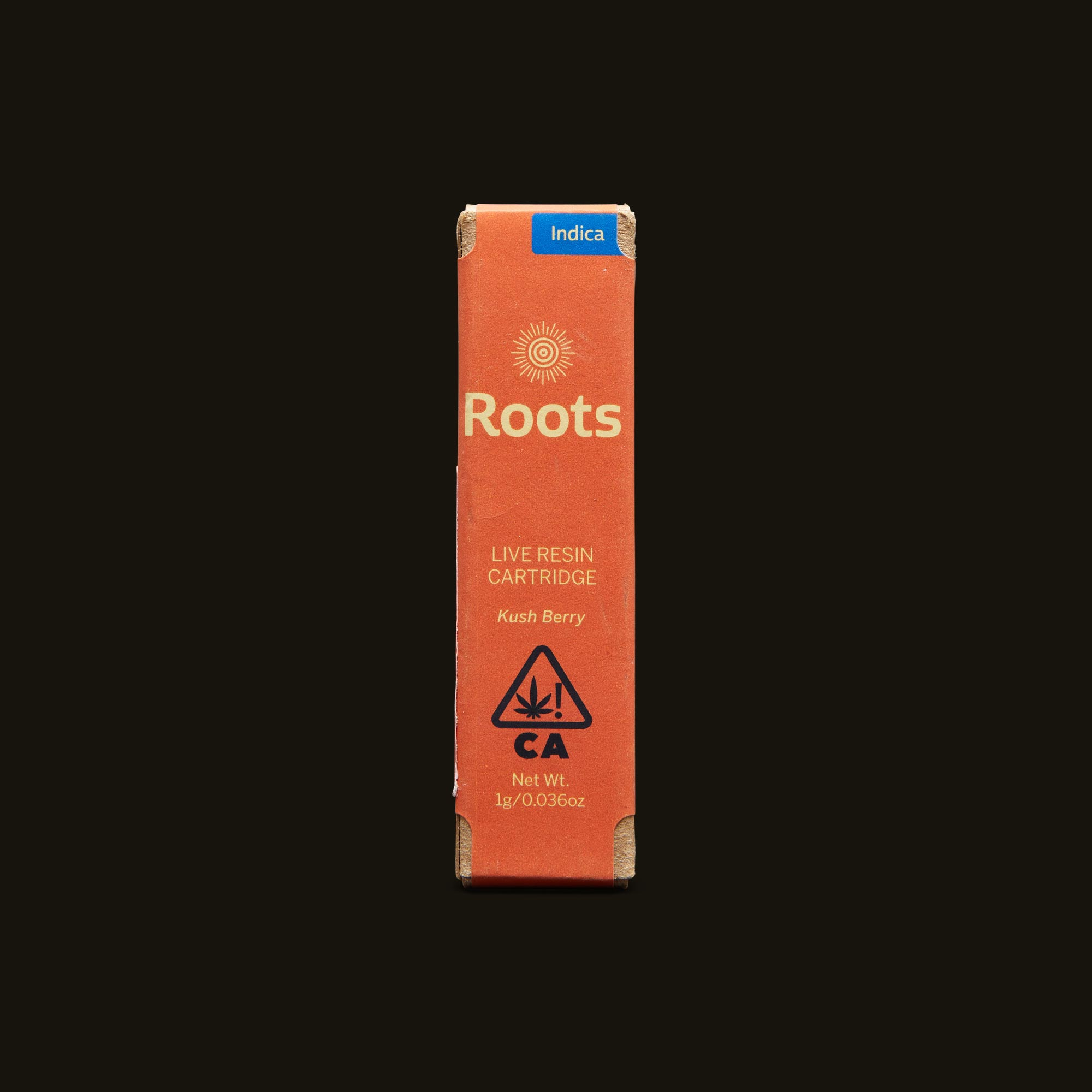 Roots Kush Berry Live Resin Cartridge Front Packaging